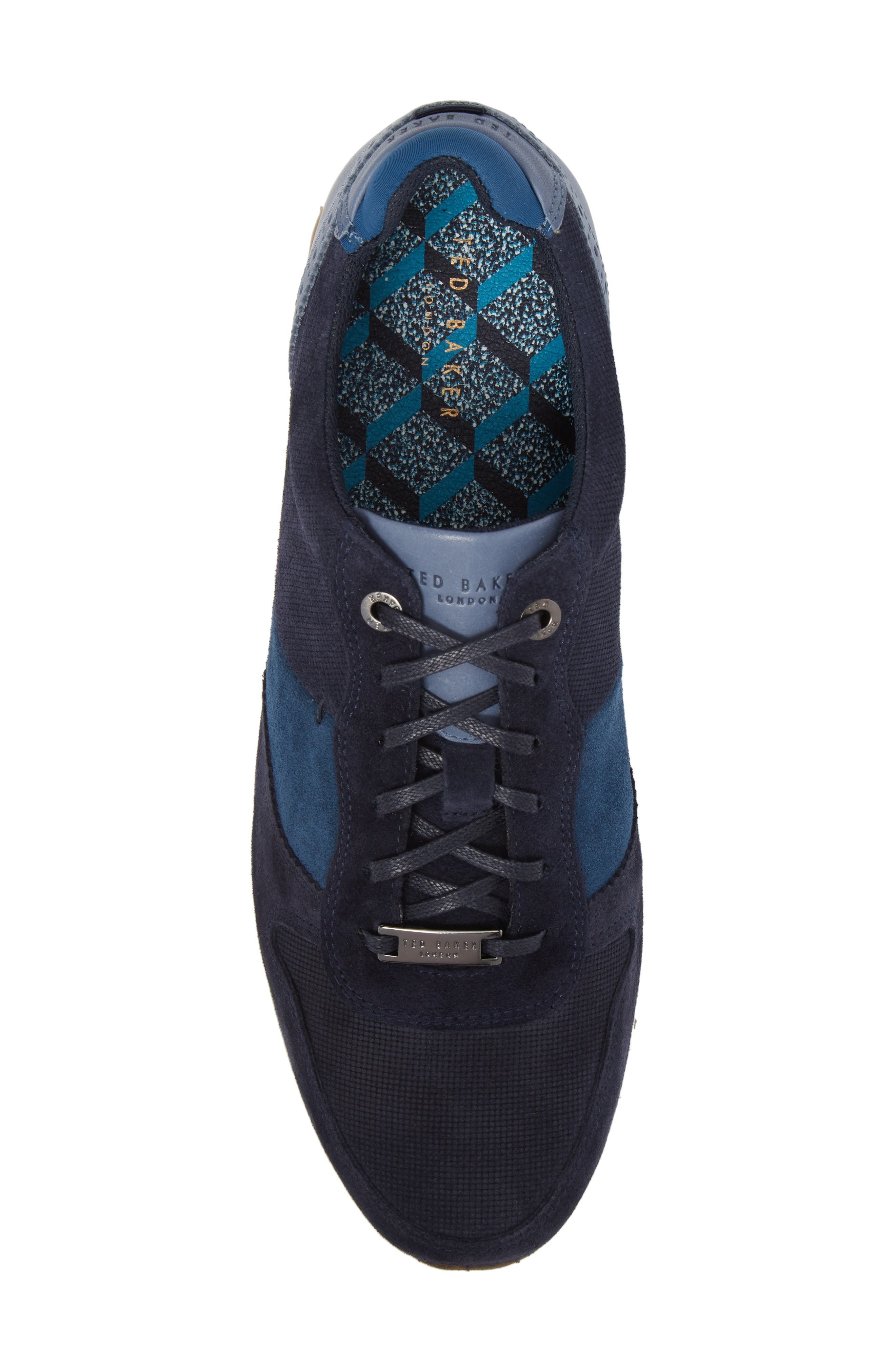 Shindls Low Top Sneaker,                             Alternate thumbnail 5, color,                             BLUE LEATHER/ SUEDE