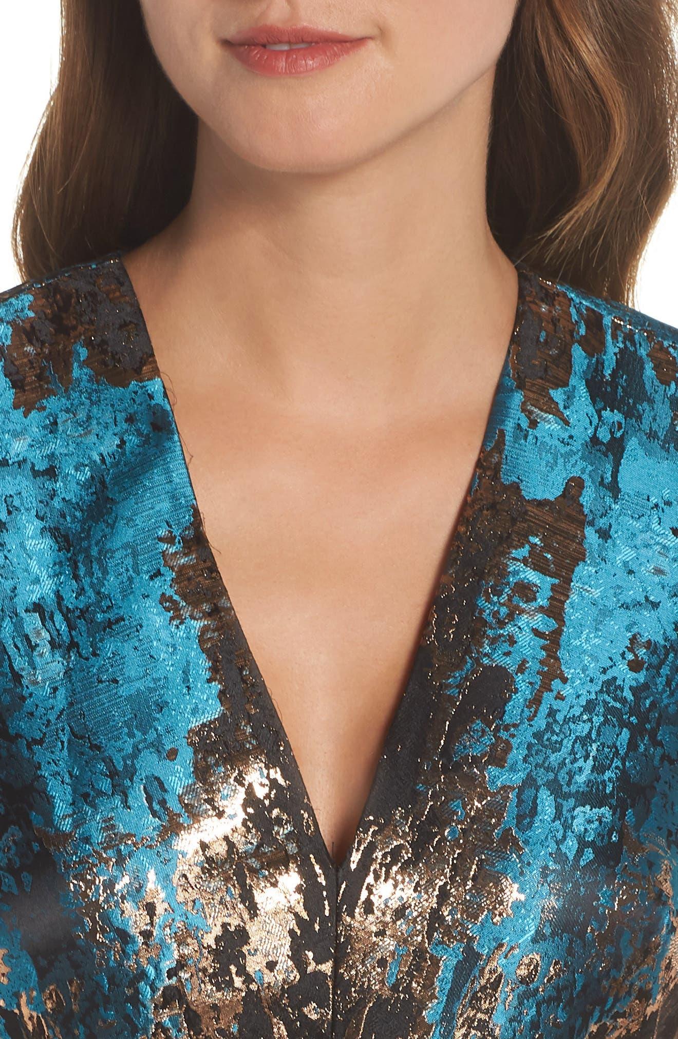 Jacquard Fit & Flare Dress,                             Alternate thumbnail 4, color,                             TEAL MULTI