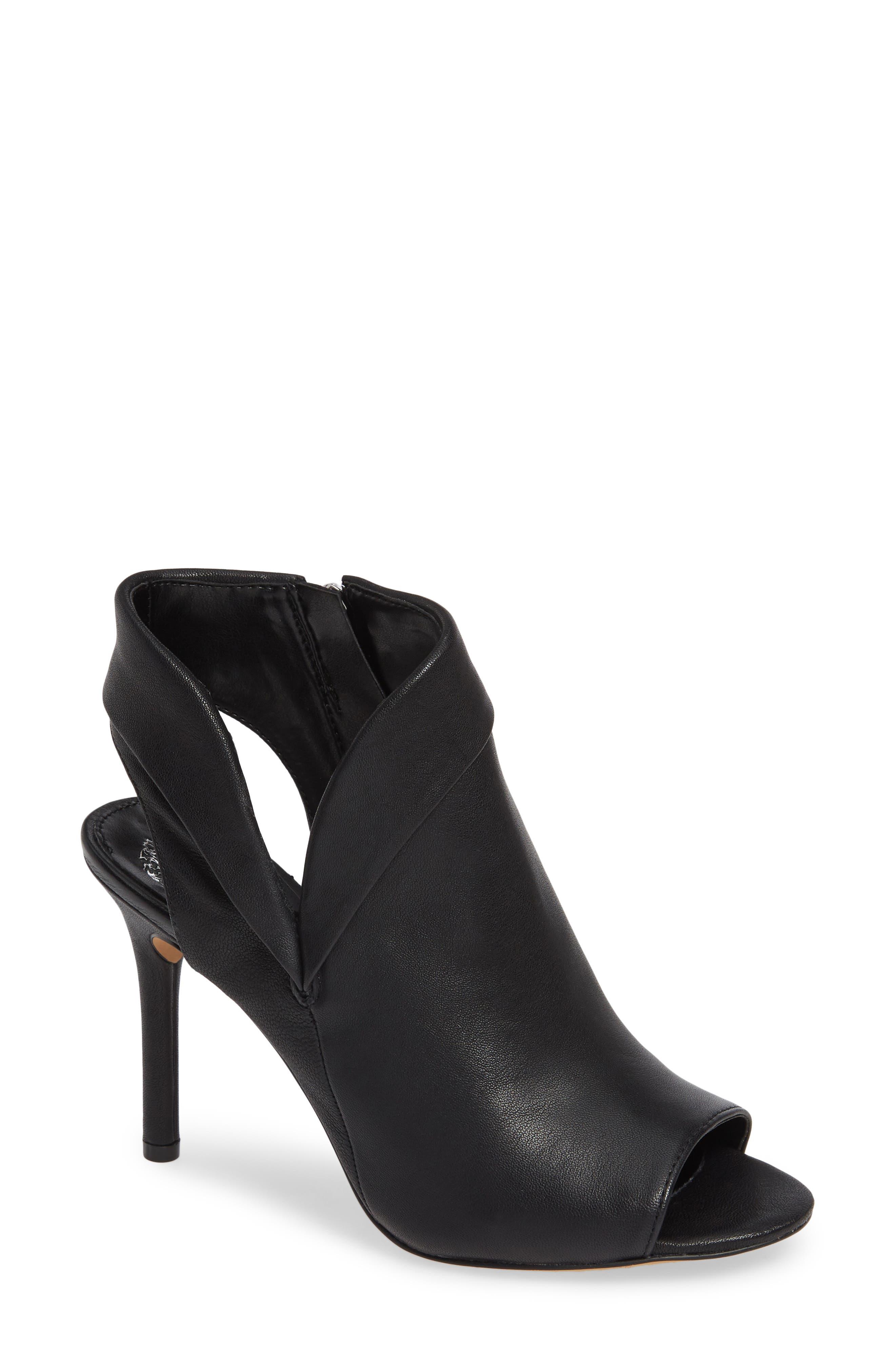 Cholia Asymmetrical Sandal Bootie, Main, color, BLACK LEATHER