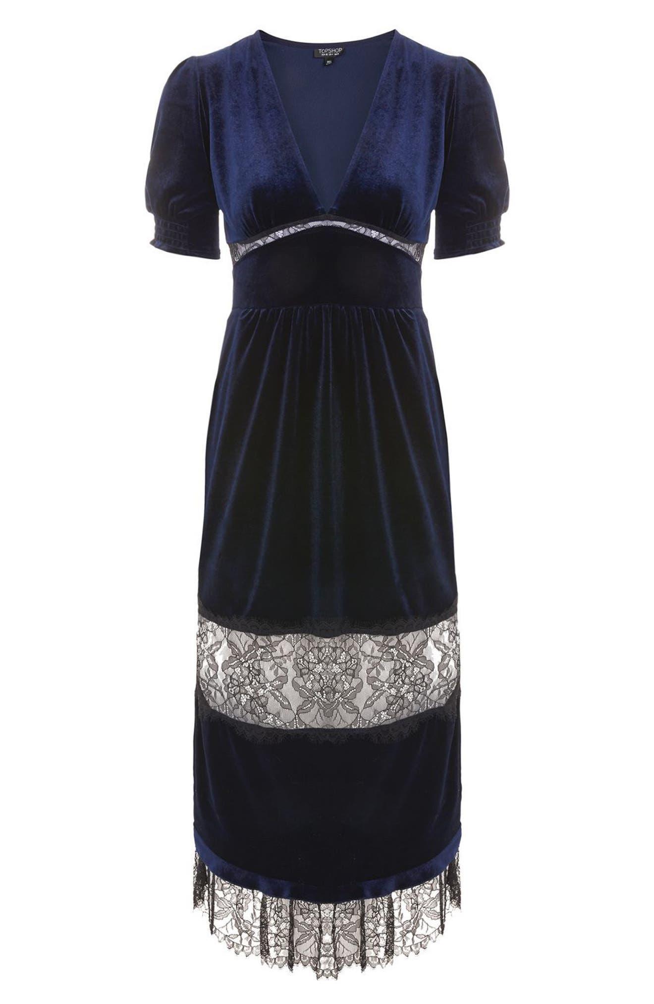 Velvet & Lace Puff Sleeve Midi Dress,                             Alternate thumbnail 4, color,