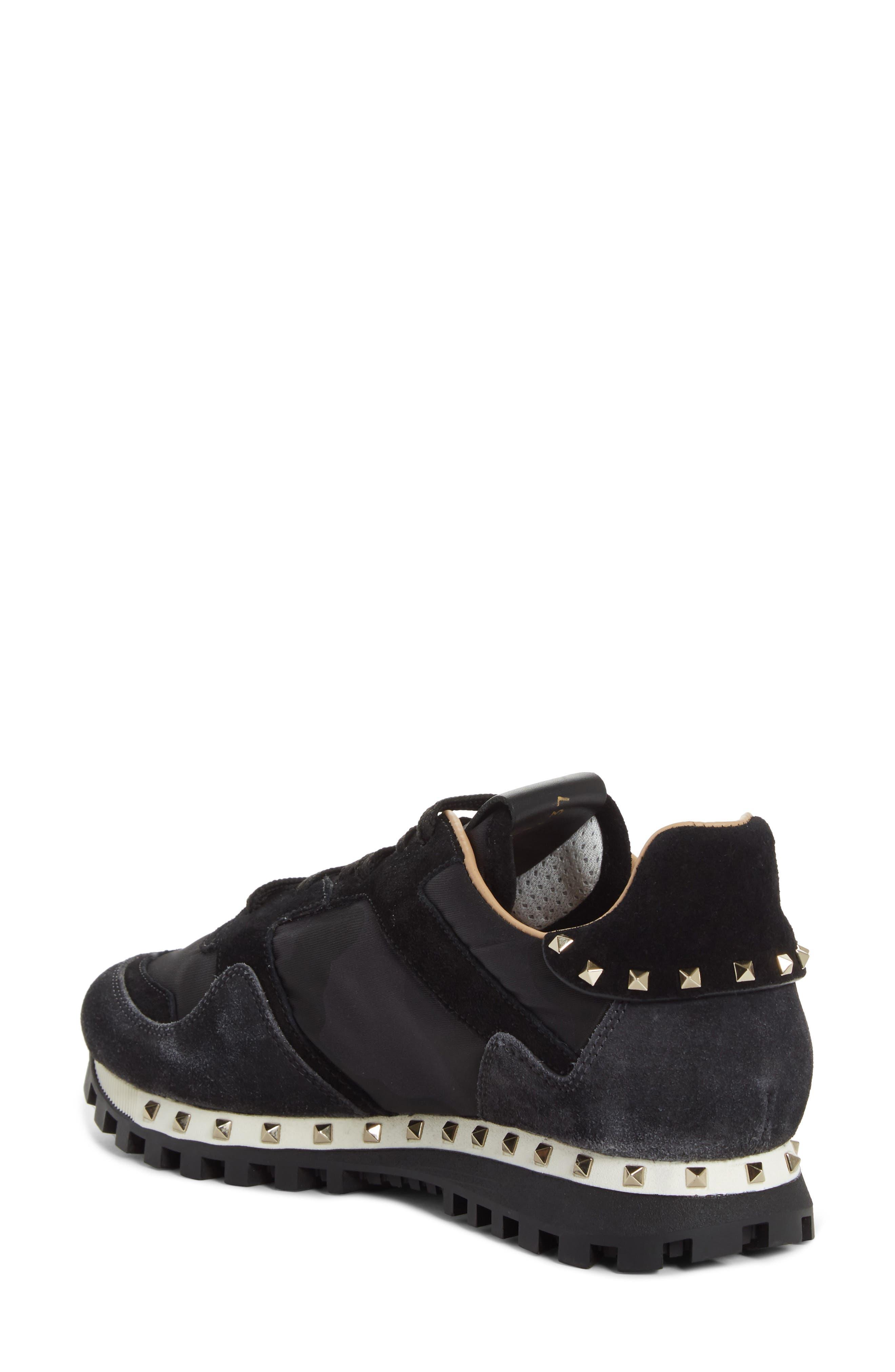 Rockstud Sneaker,                             Alternate thumbnail 2, color,                             BLACK/ GREY