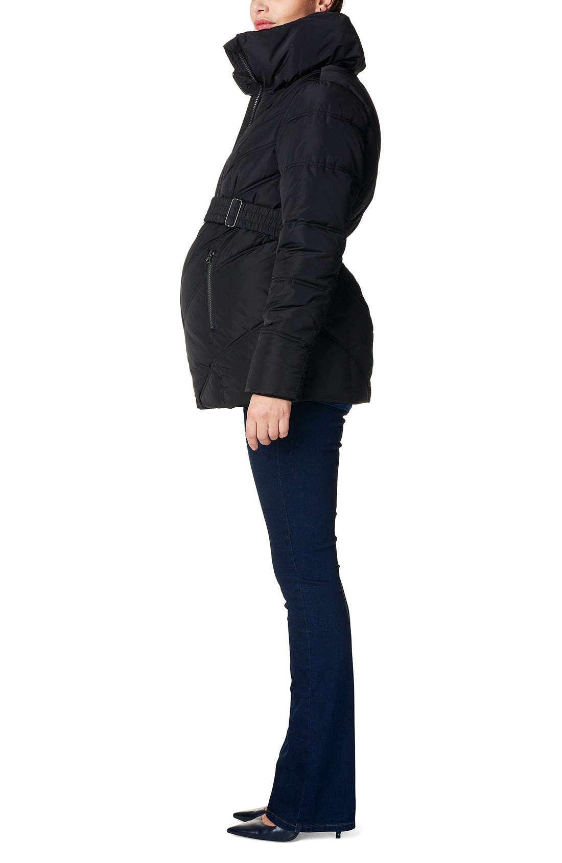 'Lene' Quilted Maternity Jacket,                             Alternate thumbnail 3, color,                             BLACK