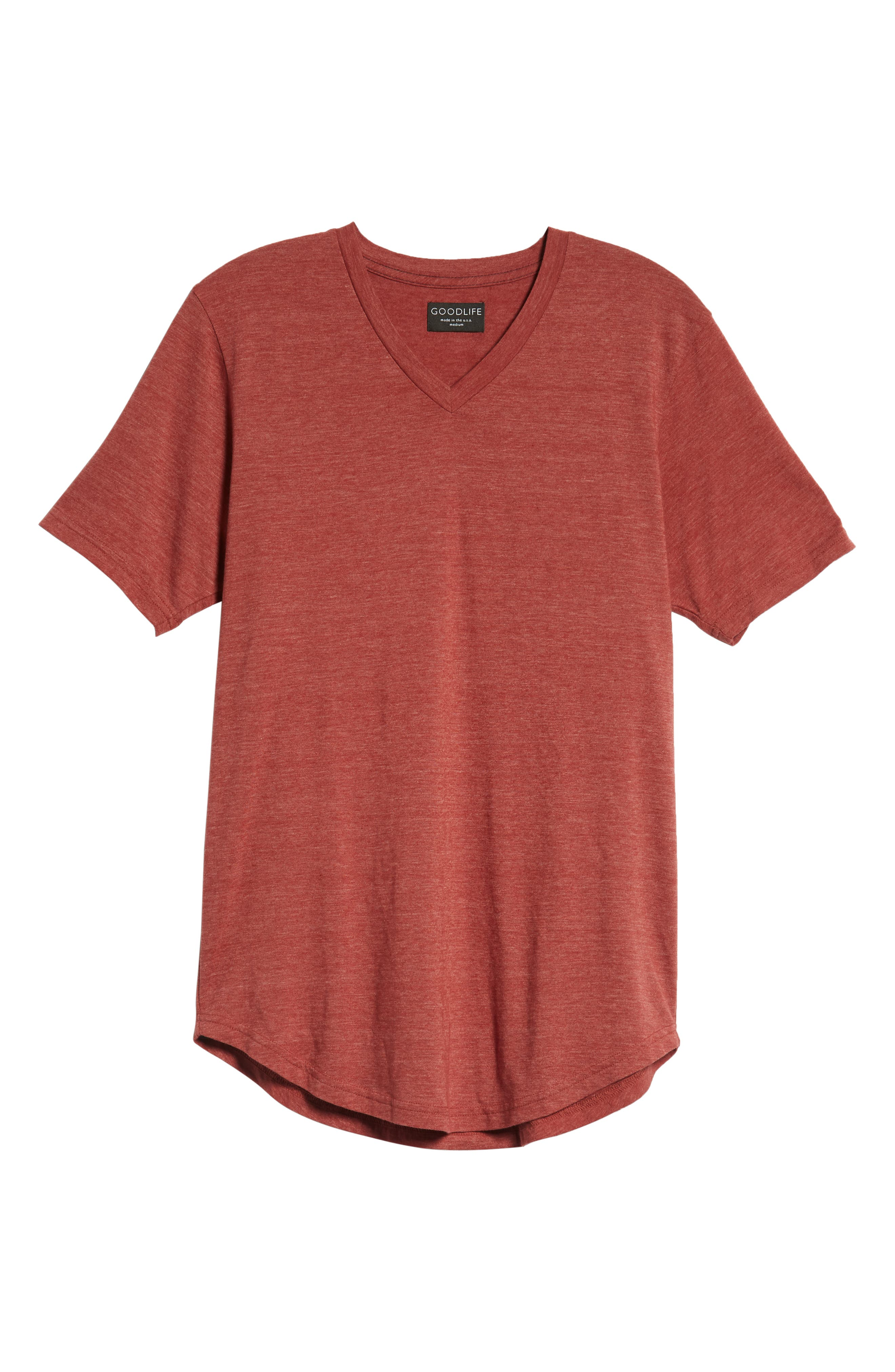 Scallop Triblend V-Neck T-Shirt,                             Alternate thumbnail 128, color,