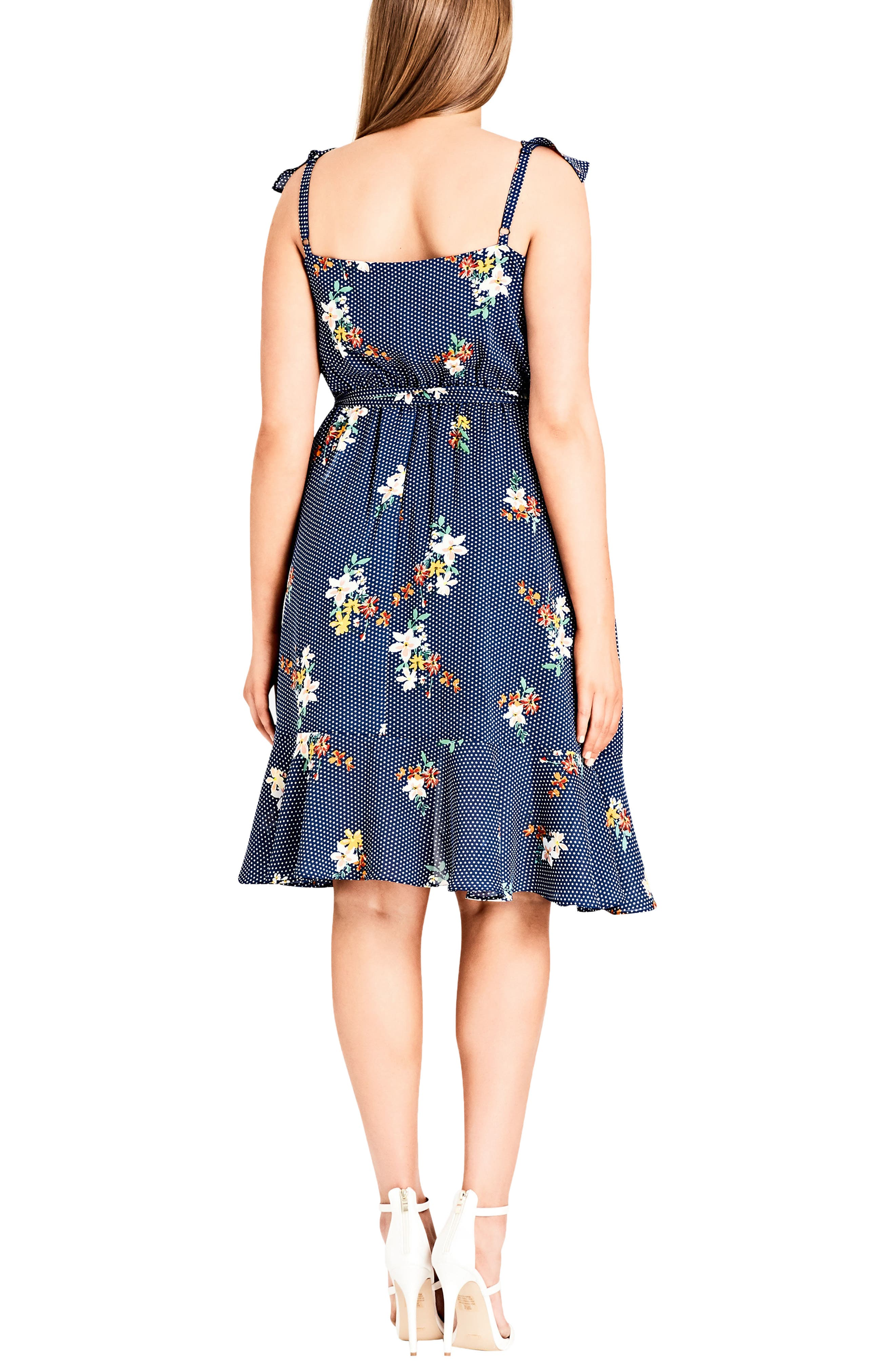 Spot the Floral Faux Wrap Dress,                             Alternate thumbnail 2, color,                             SPOT THE FLORAL