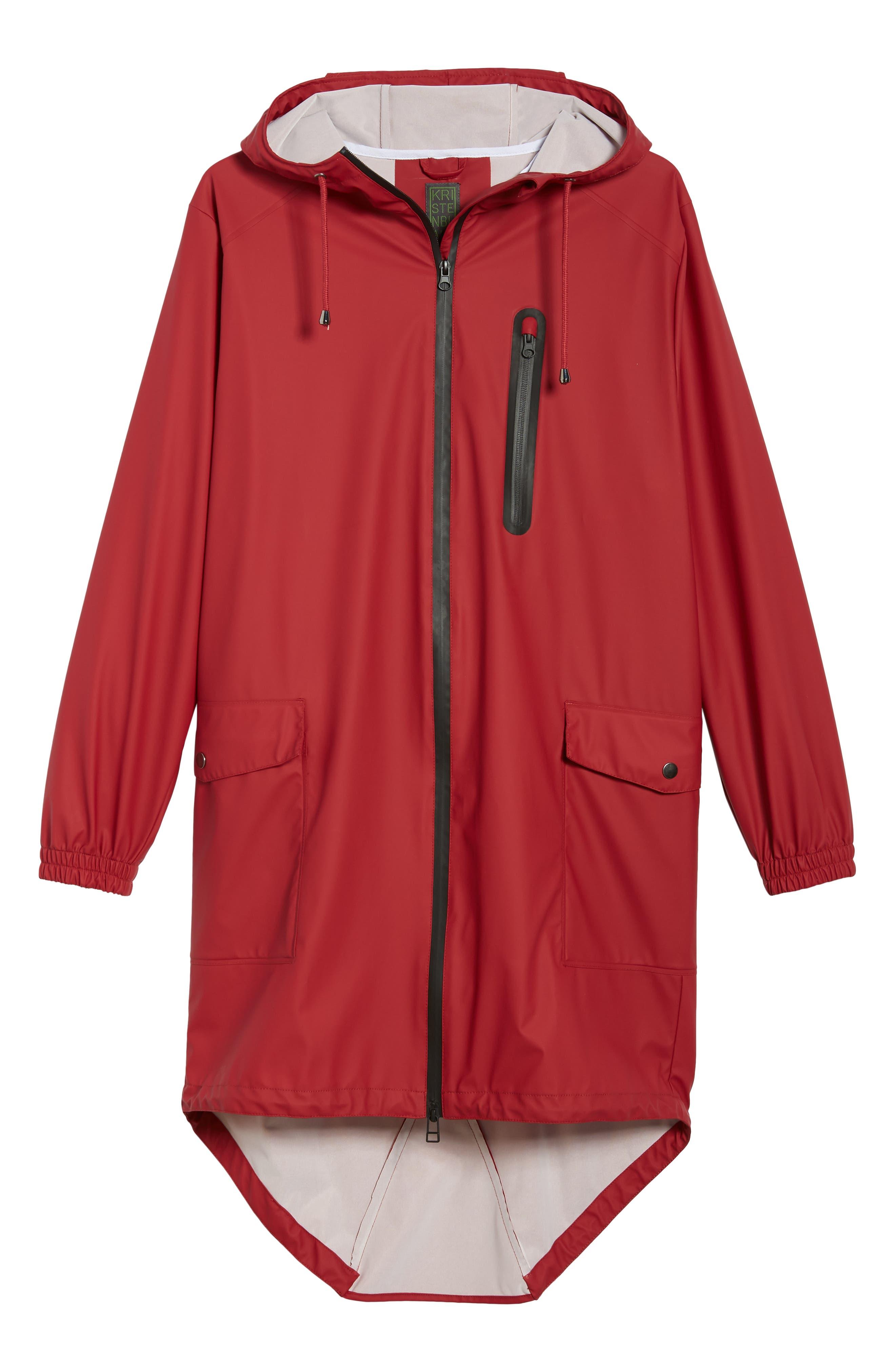 Hooded Rain Topper Jacket,                             Alternate thumbnail 5, color,                             RED