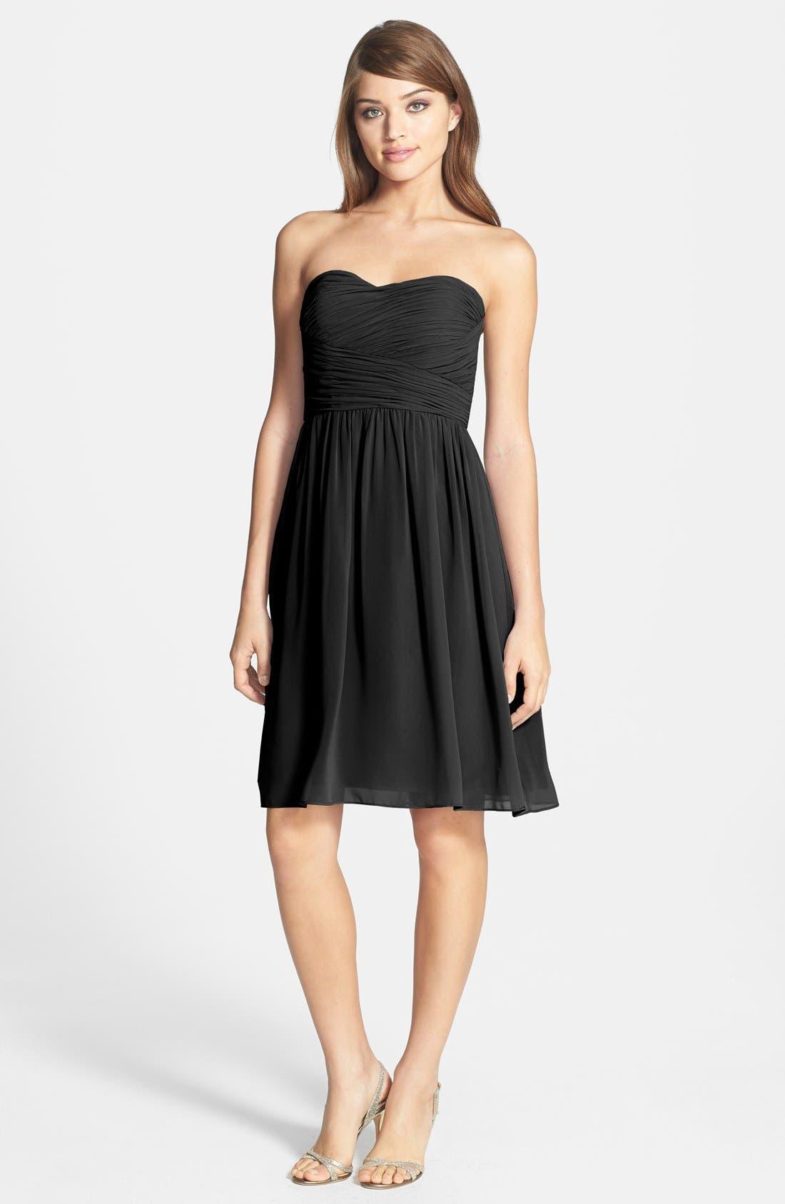 'Sarah' Strapless Ruched Chiffon Dress,                             Main thumbnail 1, color,                             001