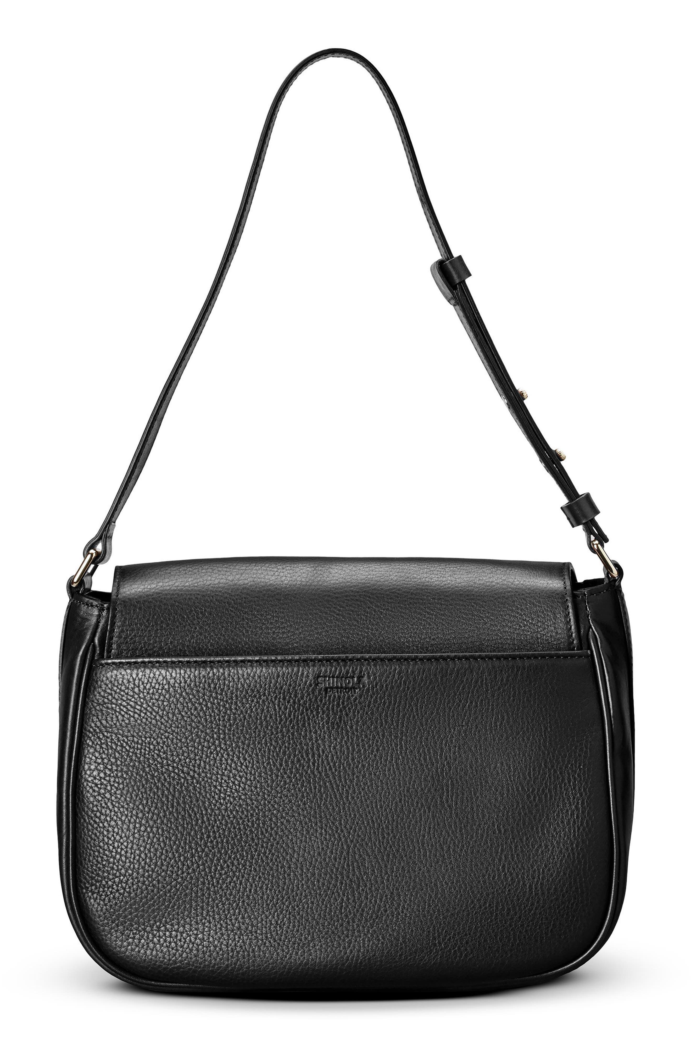 Calfskin Leather Shoulder Bag,                             Alternate thumbnail 9, color,                             001