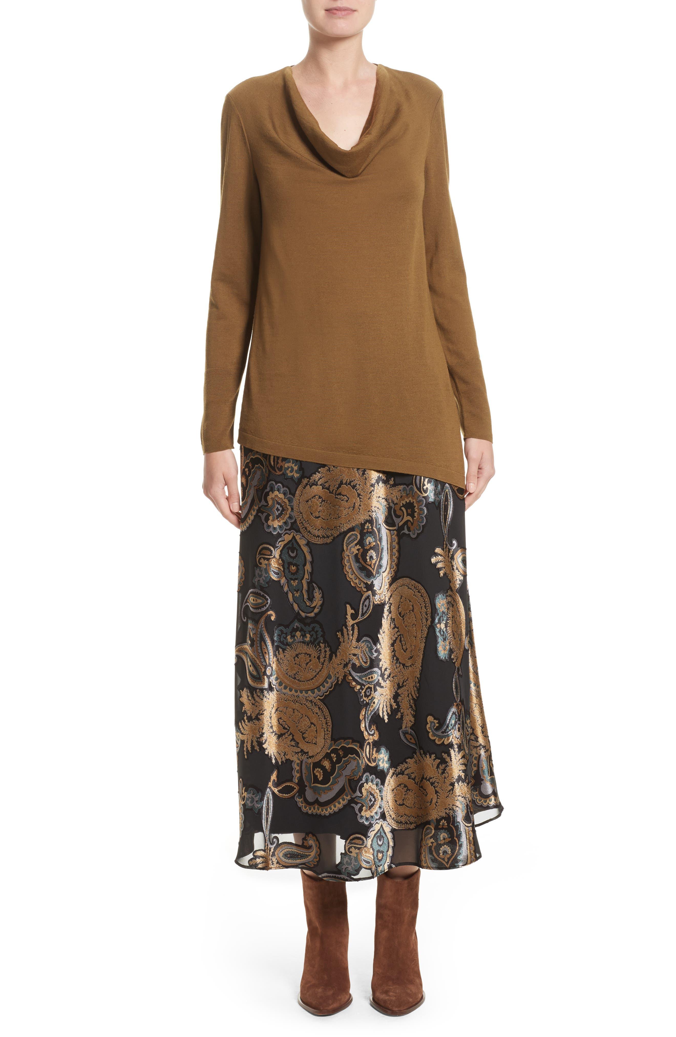 Kamara Renaissance Paisley Devoré Skirt,                             Alternate thumbnail 7, color,                             001