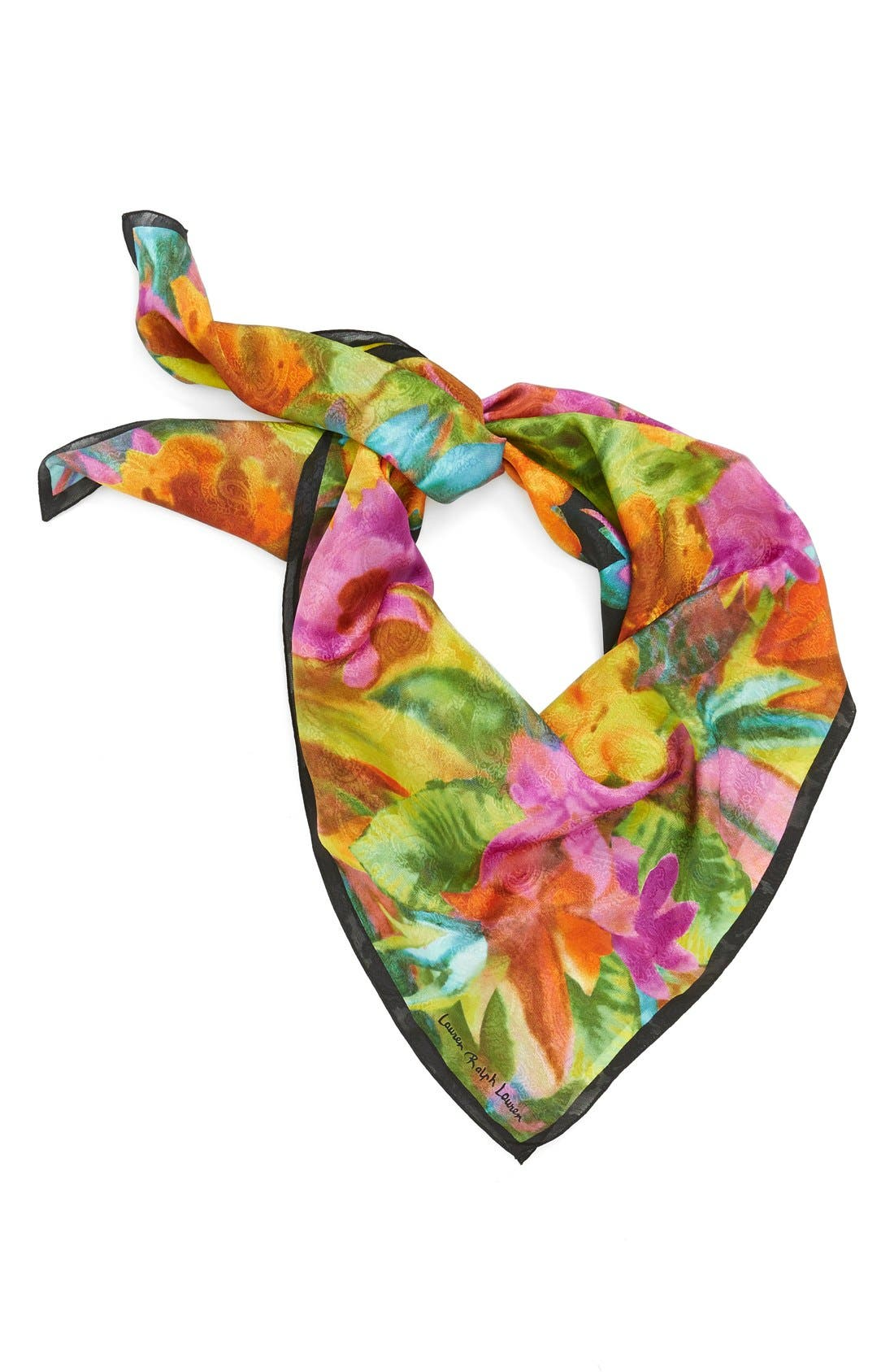 Silk Square Scarf,                             Main thumbnail 1, color,                             001