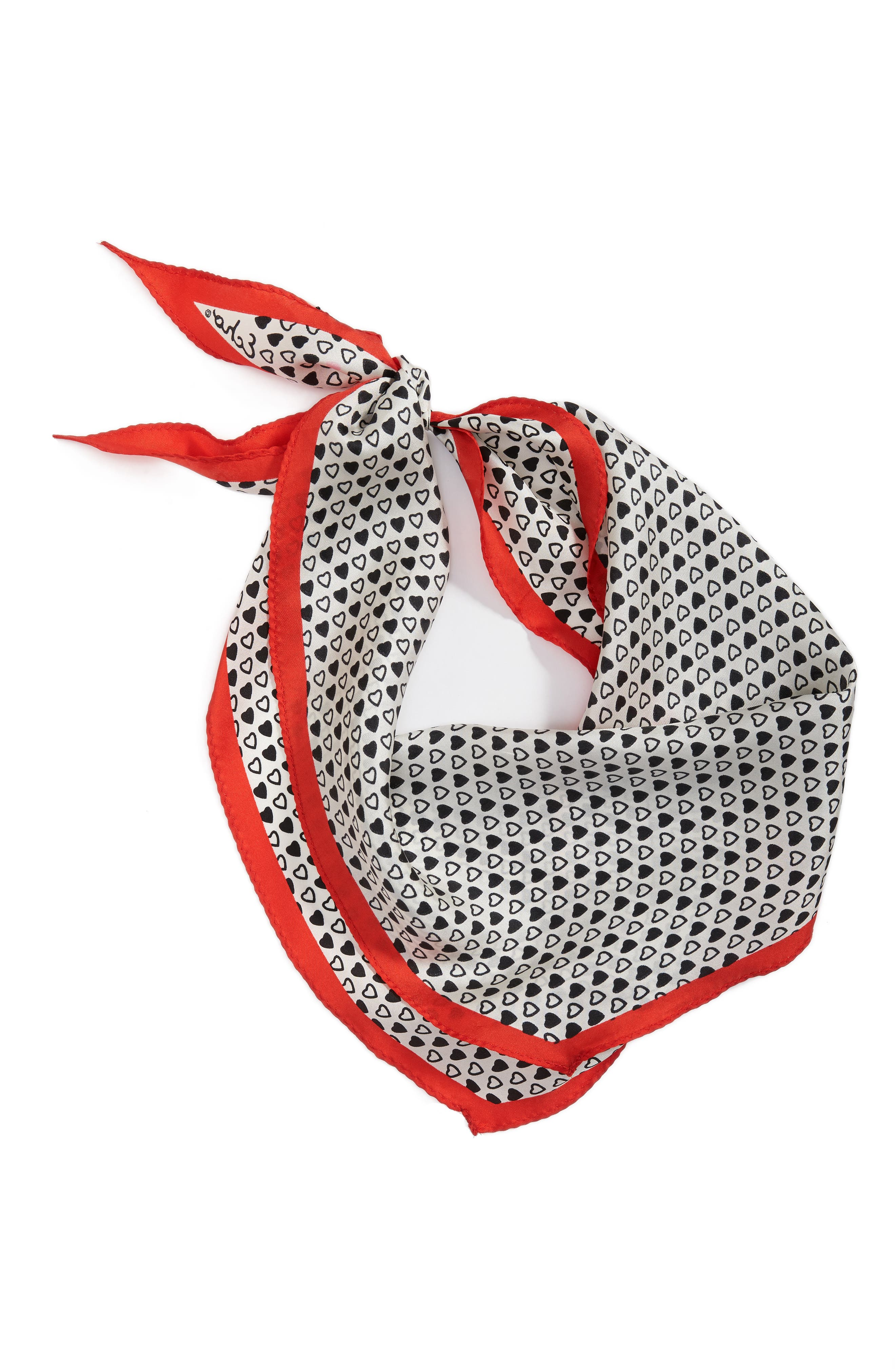 I Heart You Diamond Silk Scarf,                             Alternate thumbnail 4, color,