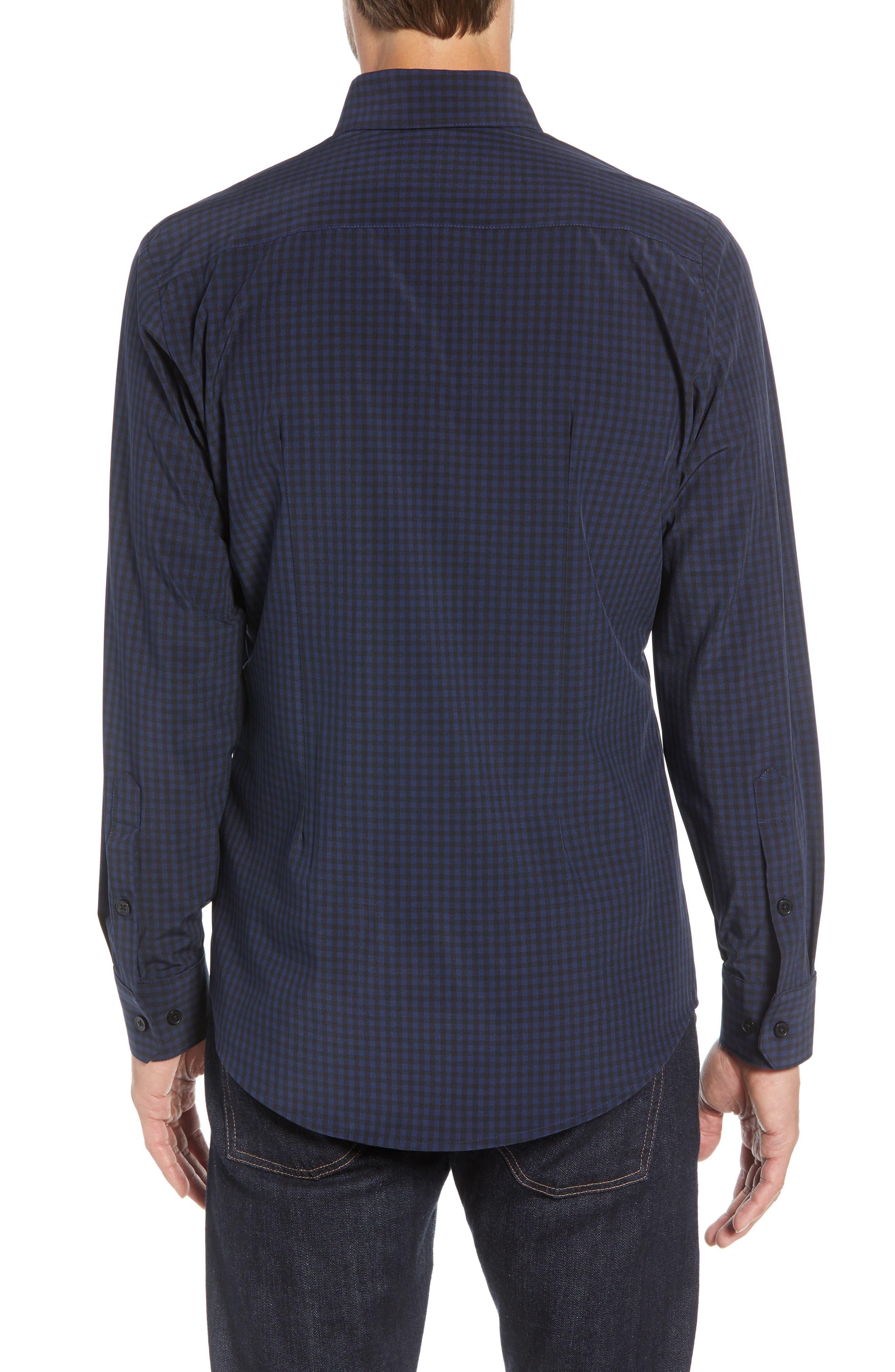 Burns Slim Fit Check Performance Sport Shirt,                             Alternate thumbnail 3, color,                             BLACK
