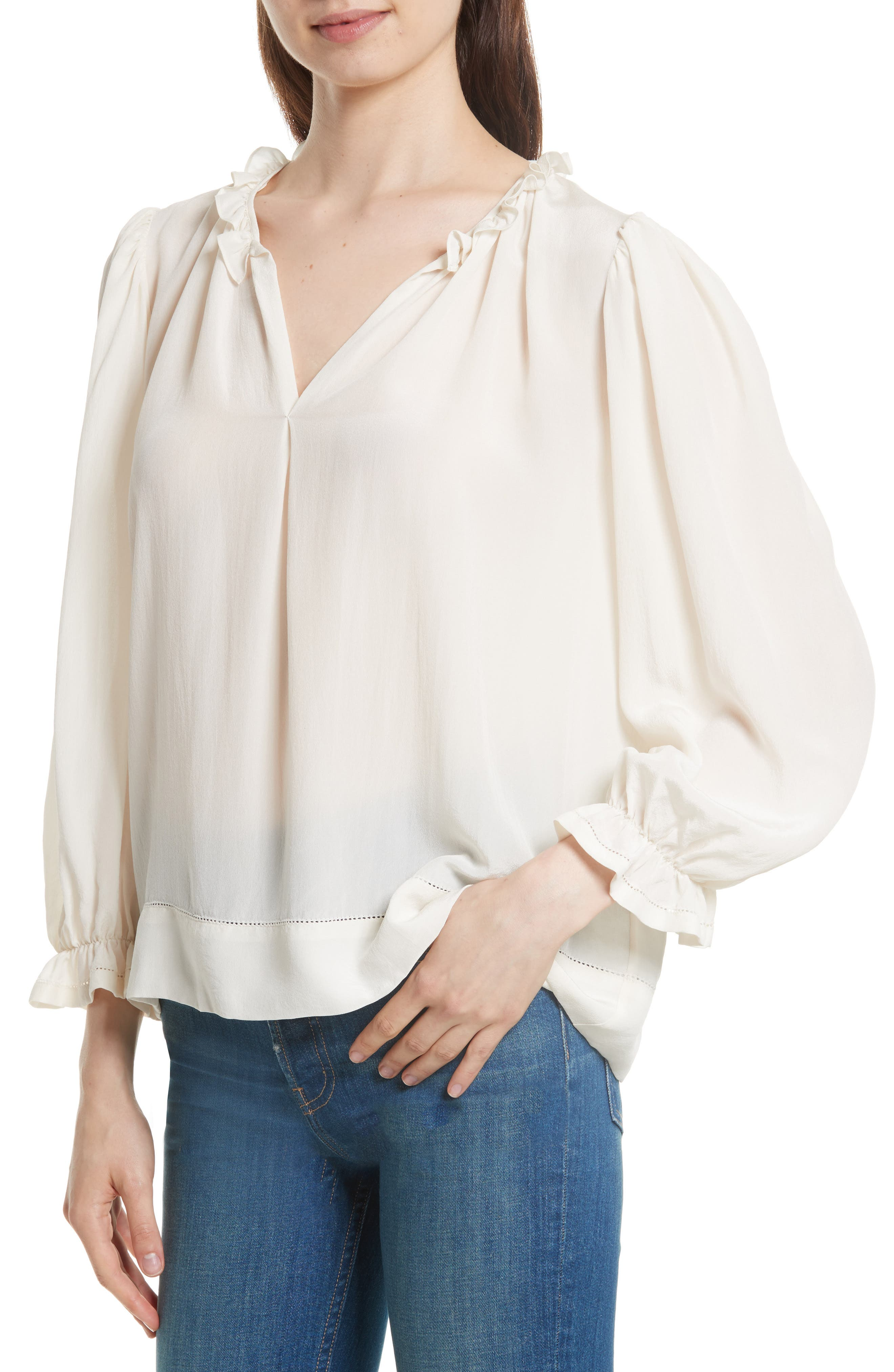 The Long Sleeve Story Silk Top,                             Alternate thumbnail 4, color,                             900