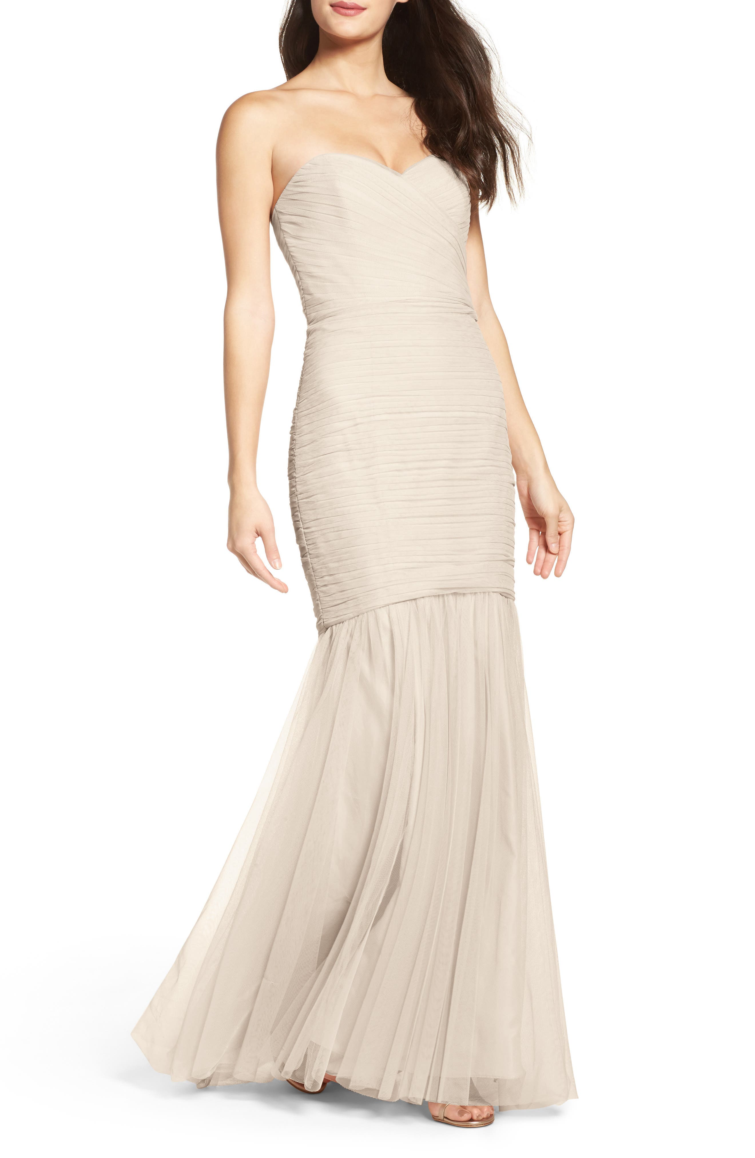 Strapless Crinkle Chiffon Gown,                         Main,                         color, 250