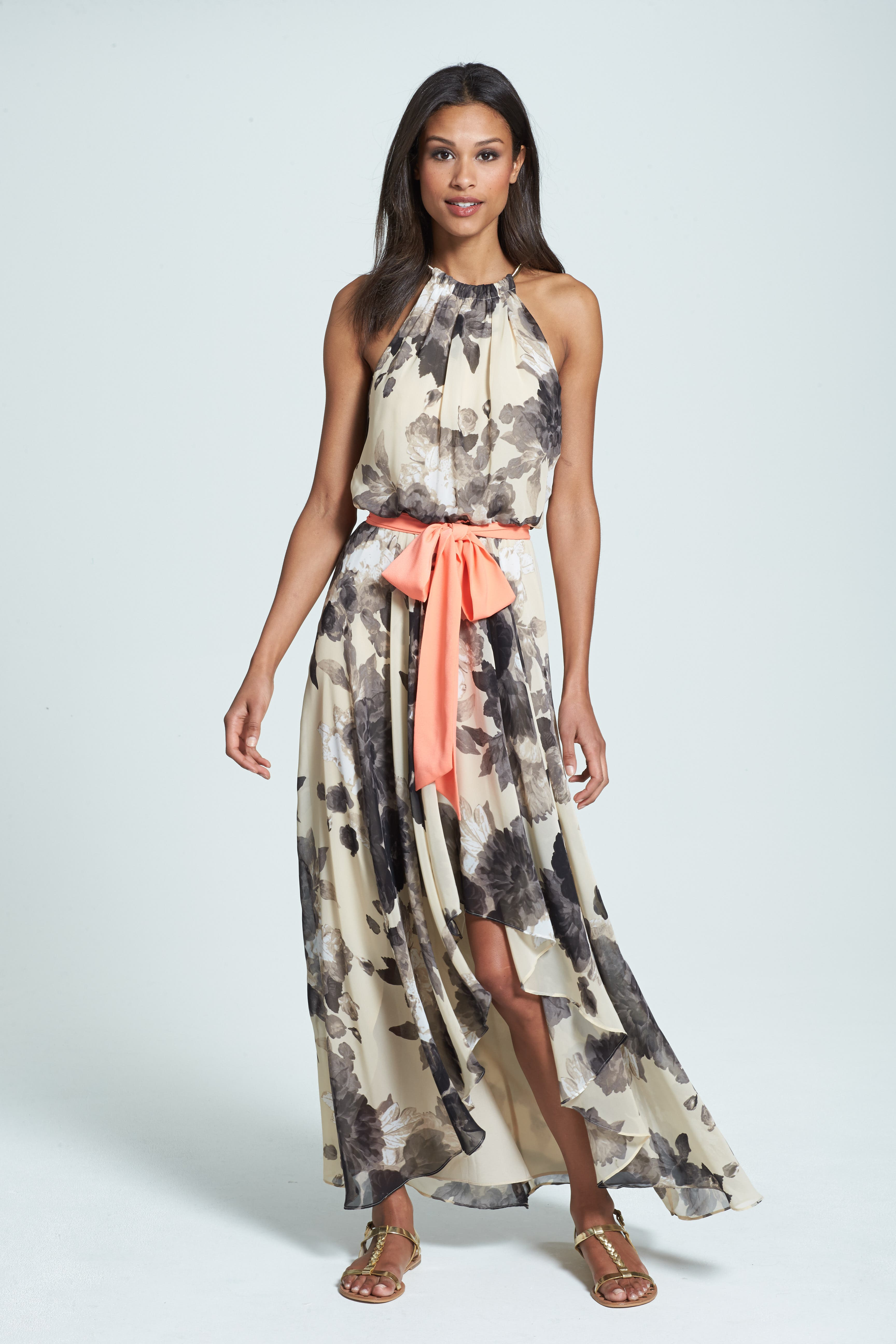 Floral Print Chiffon Maxi Dress,                             Alternate thumbnail 2, color,                             TAUPE/ BLACK
