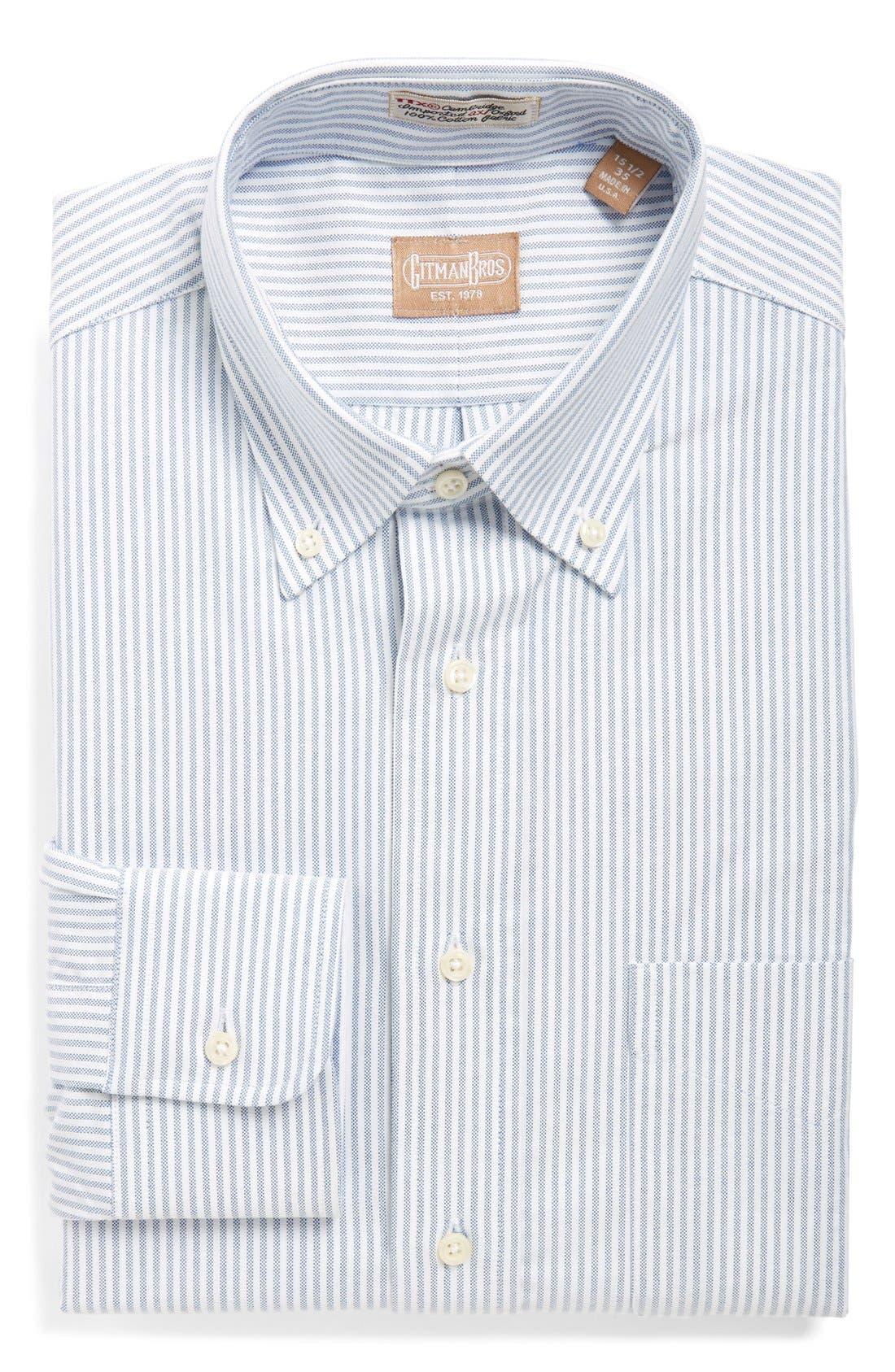'Cambridge Oxford' Regular Fit Stripe Dress Shirt,                         Main,                         color, BLUE