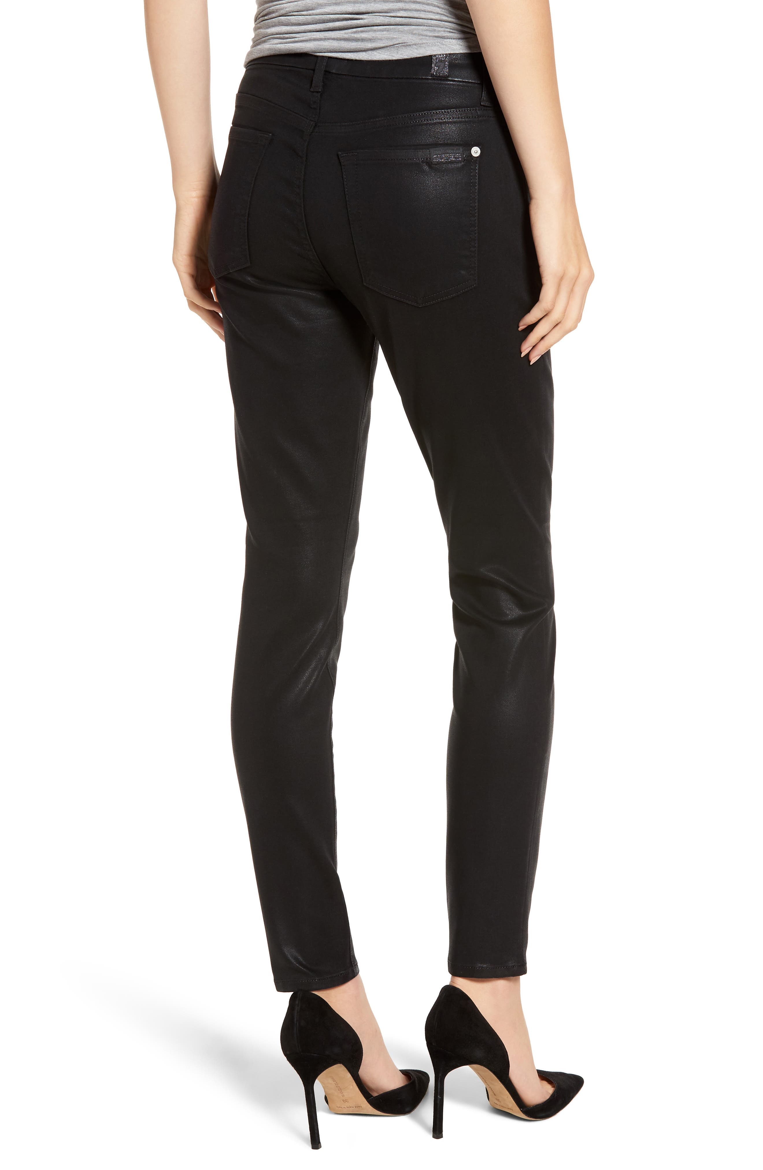 7 FOR ALL MANKIND<SUP>®</SUP>,                             b(air) Coated Ankle Skinny Jeans,                             Alternate thumbnail 2, color,                             BLACK COATED