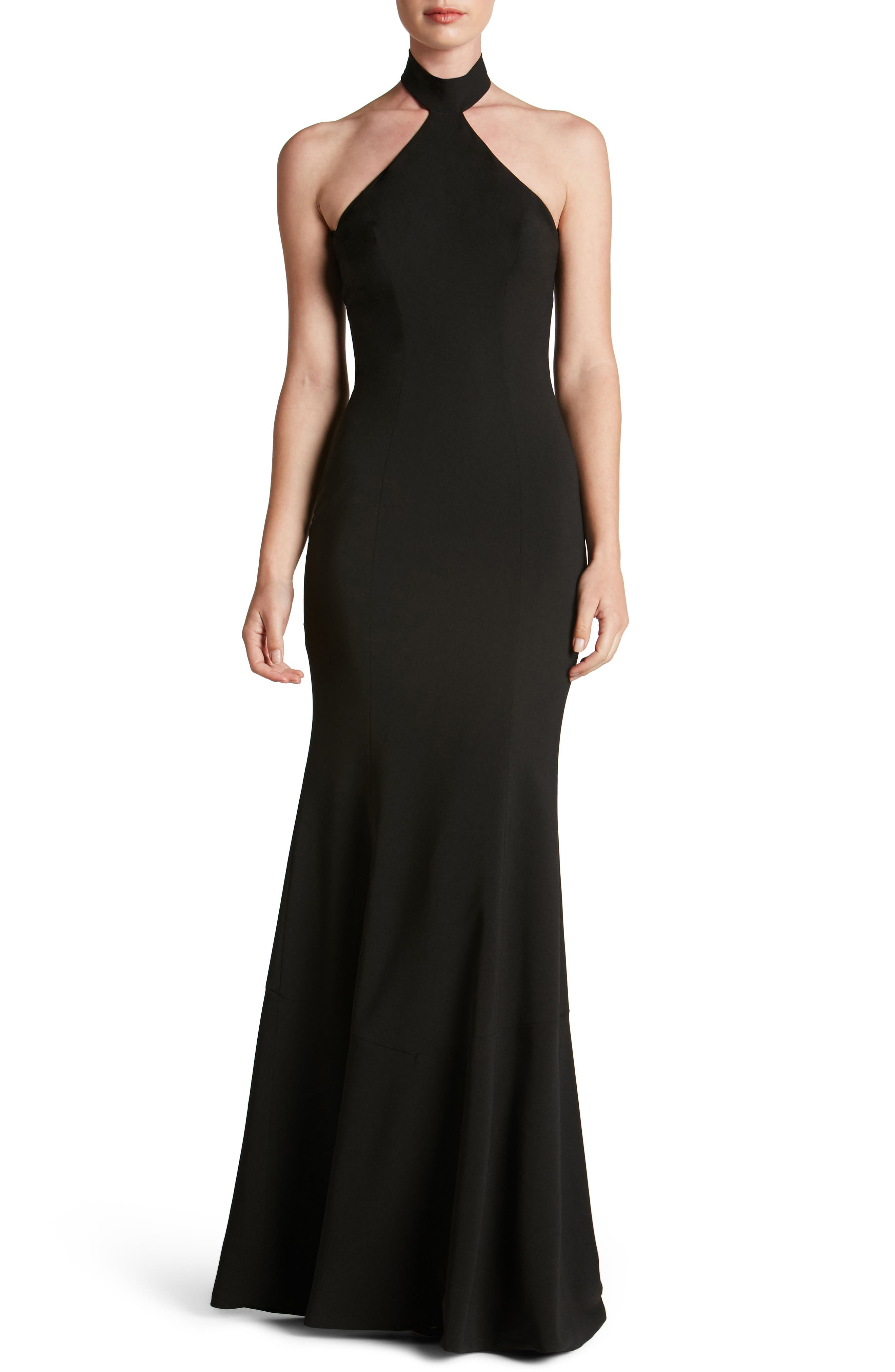 Taylor Crepe Halter Gown,                             Main thumbnail 1, color,                             001