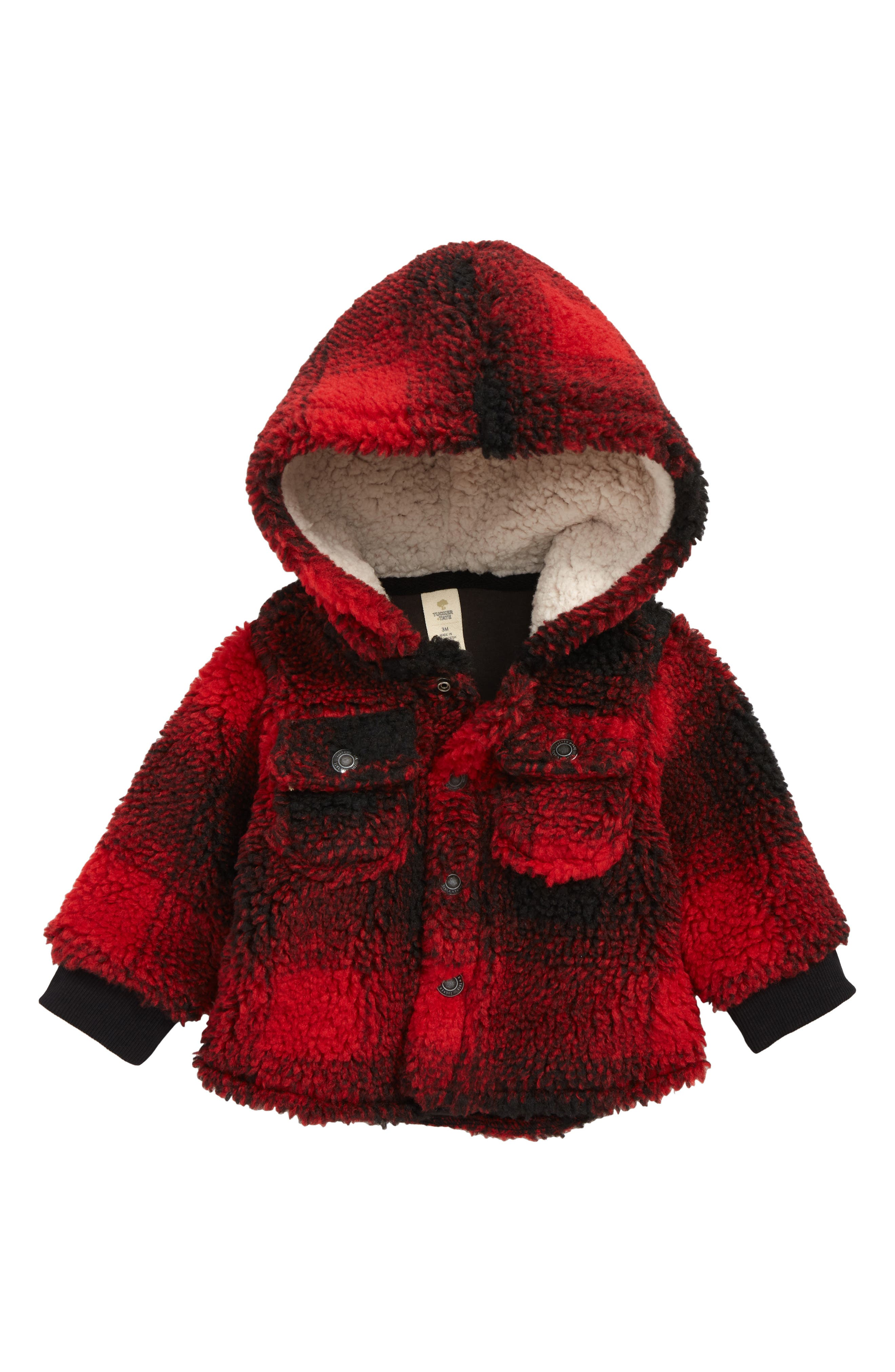 Check Hooded Fleece Jacket,                         Main,                         color, RED RIBBON- BLACK SHADOW PLAID