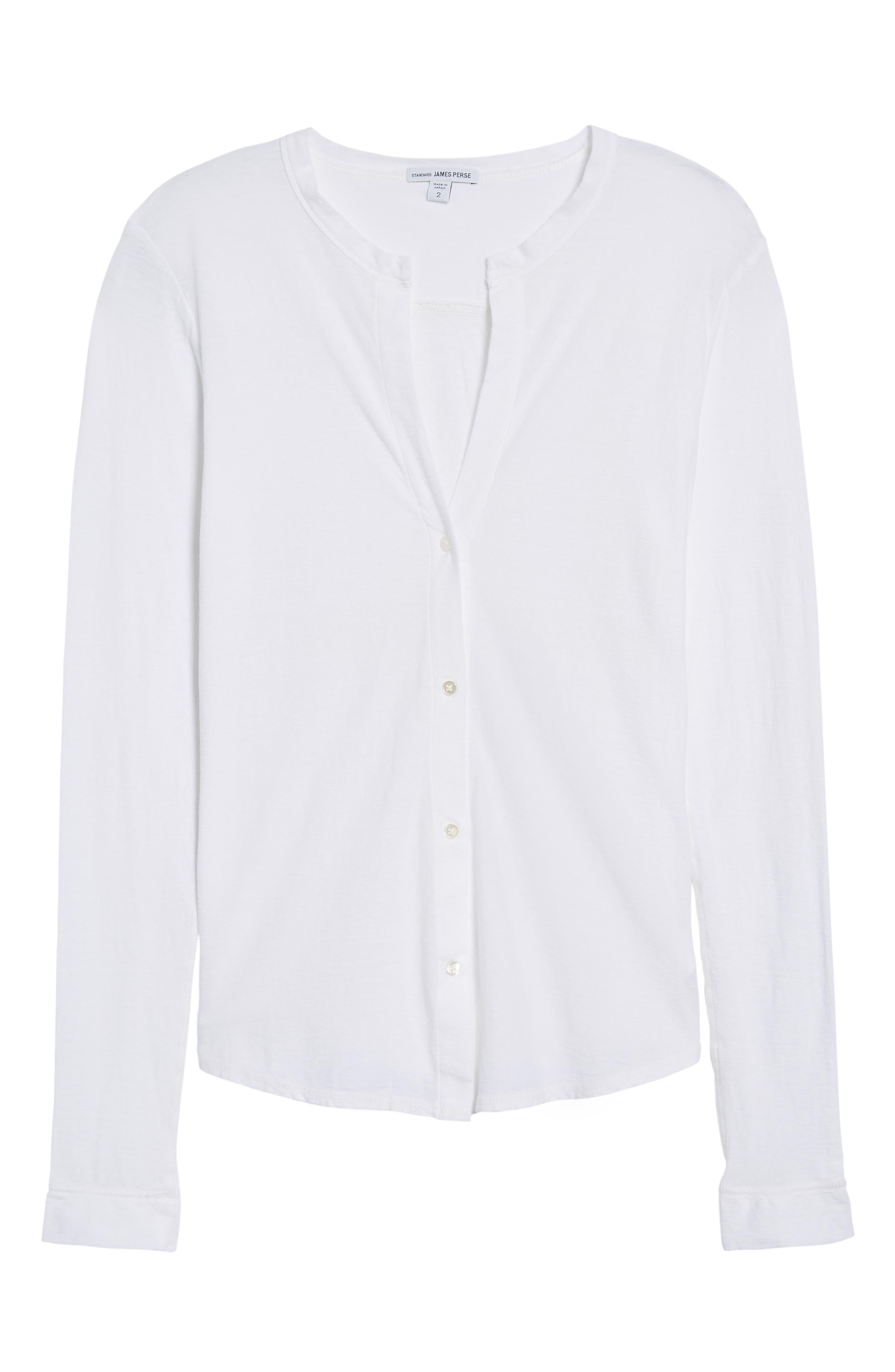 Cotton & Linen Button Front Tee,                             Alternate thumbnail 12, color,