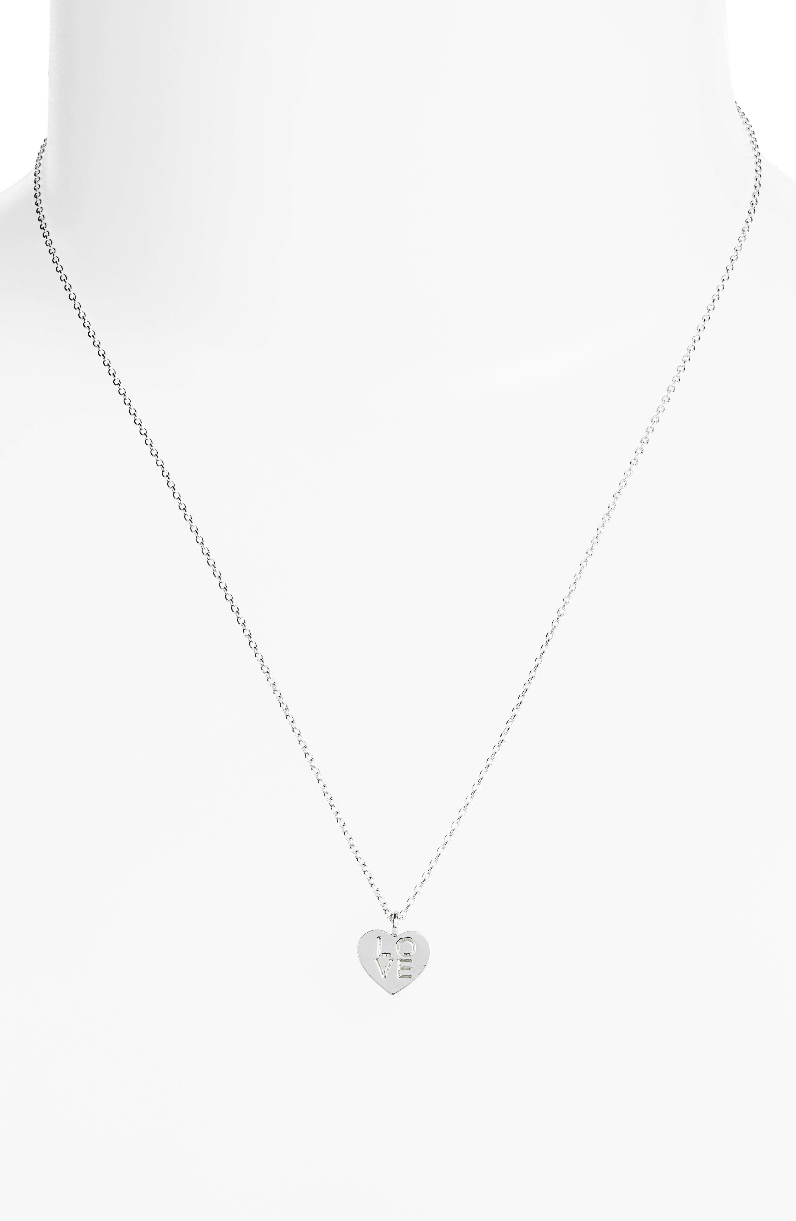 Love Letter Heart Necklace,                             Alternate thumbnail 2, color,                             SILVER