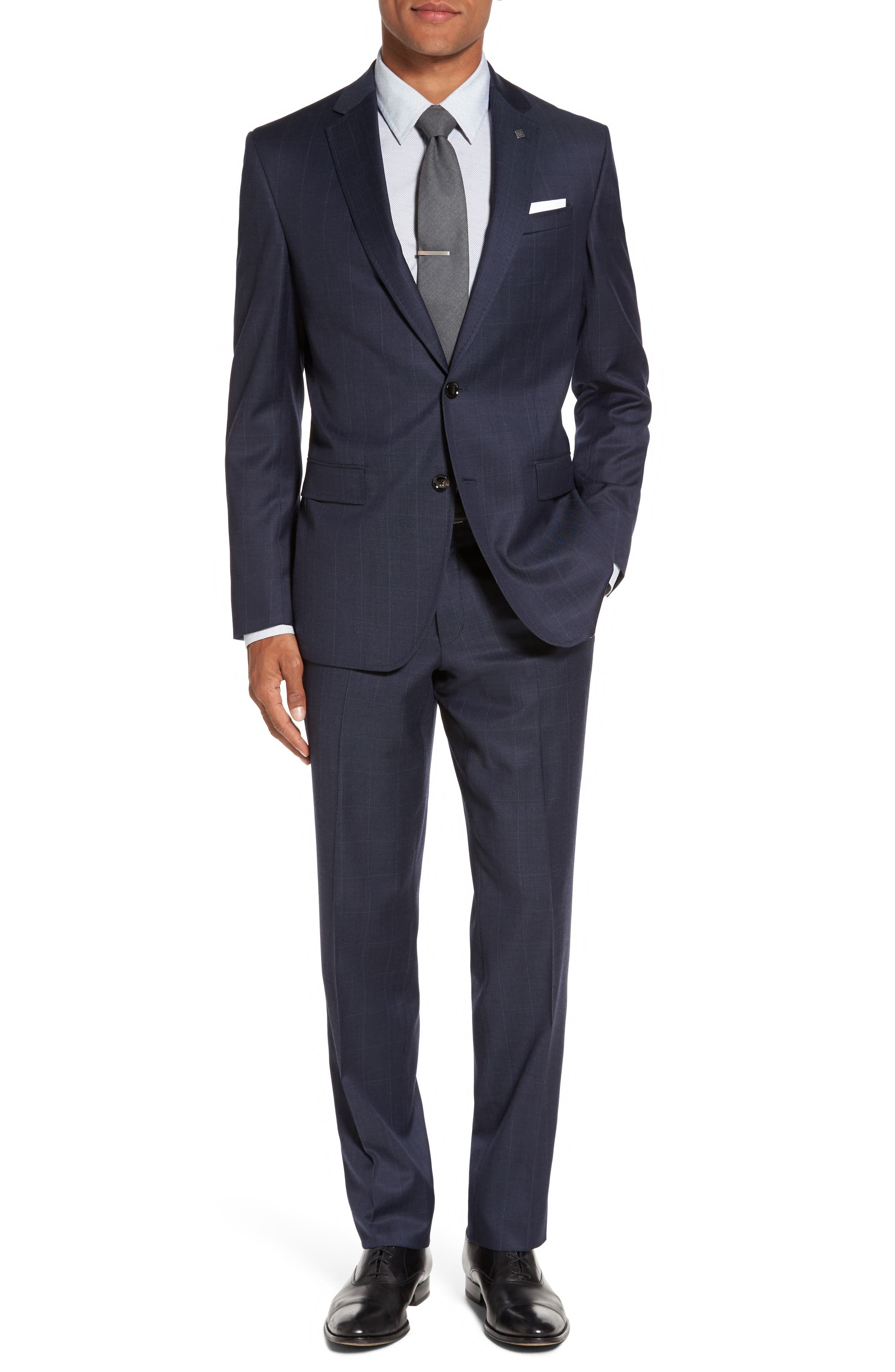 Jay Trim Fit Windowpane Wool Suit,                             Main thumbnail 1, color,