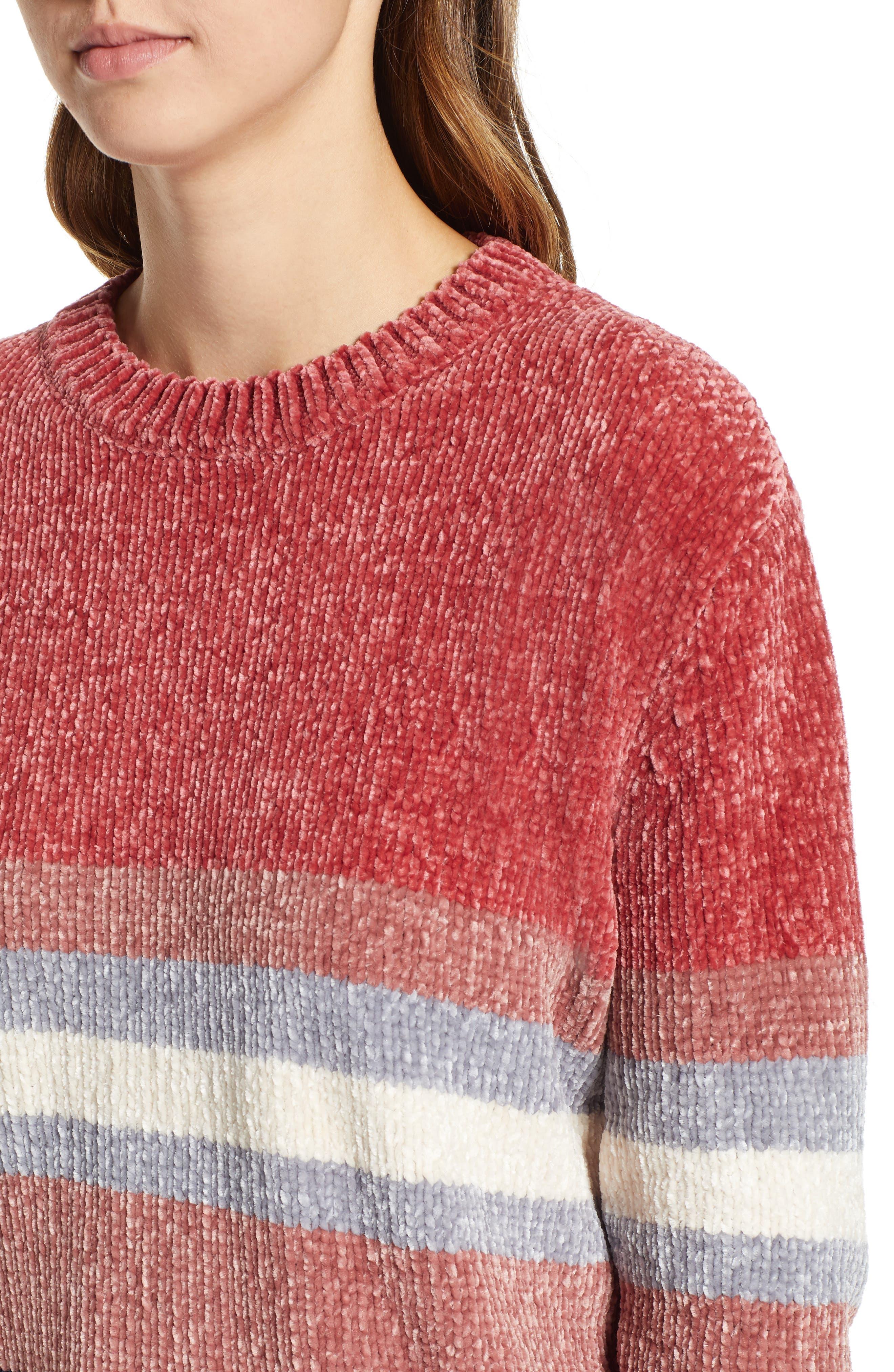 Stripe Chenille Sweater,                             Alternate thumbnail 4, color,                             PINK
