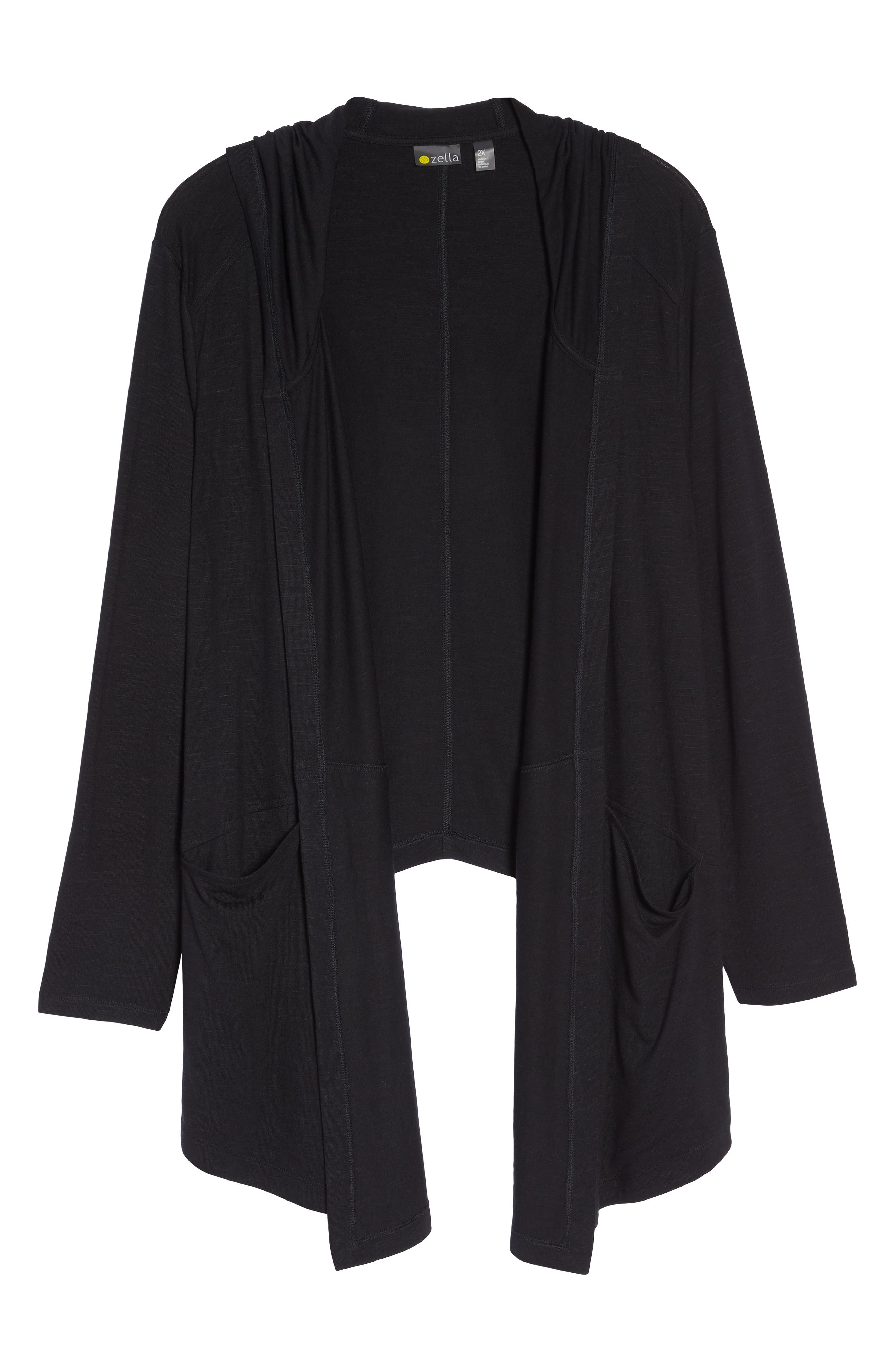 After Class Hooded Cardigan,                             Alternate thumbnail 7, color,                             BLACK