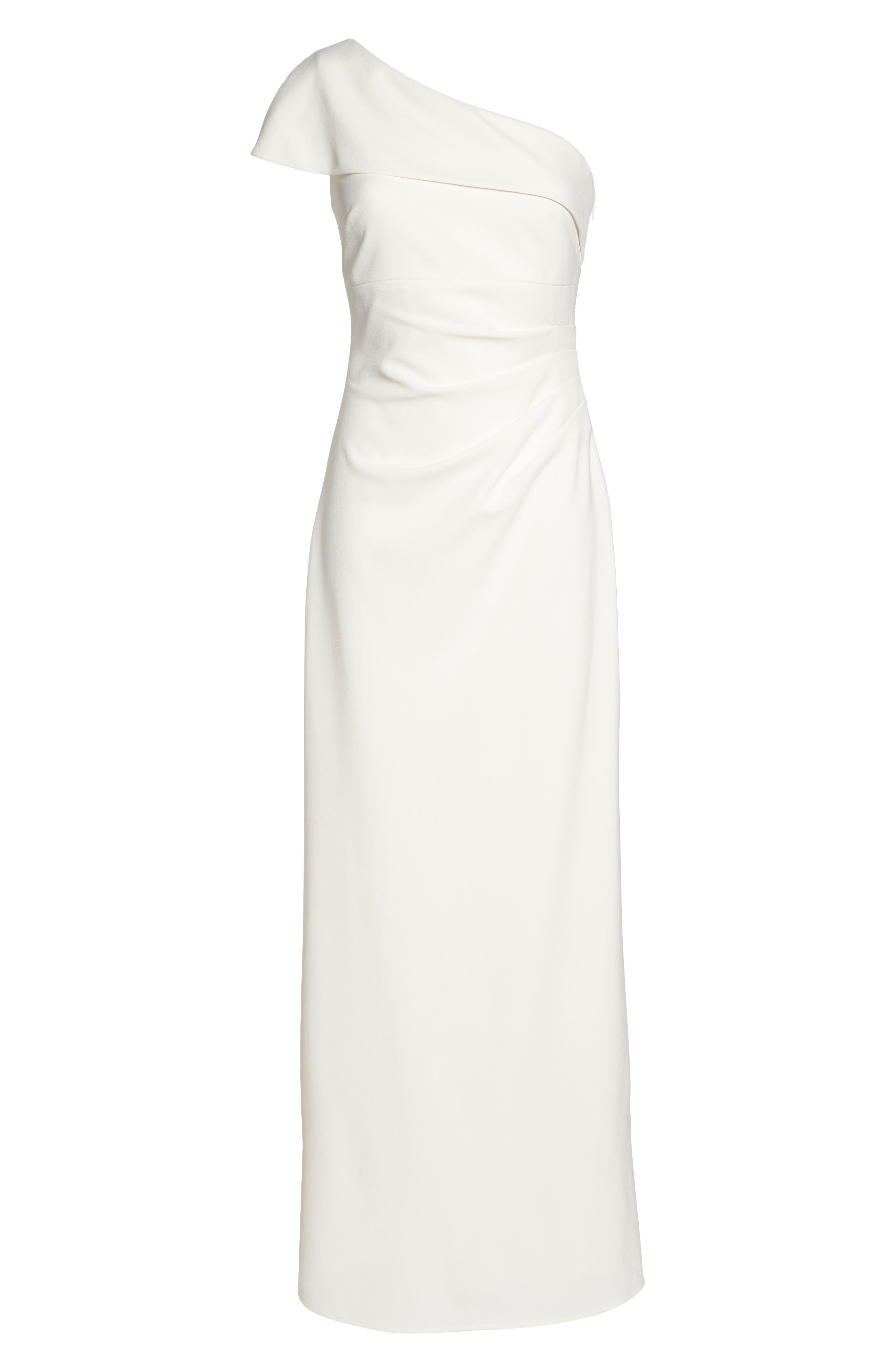 One-Shoulder Crepe Gown,                             Alternate thumbnail 6, color,                             902
