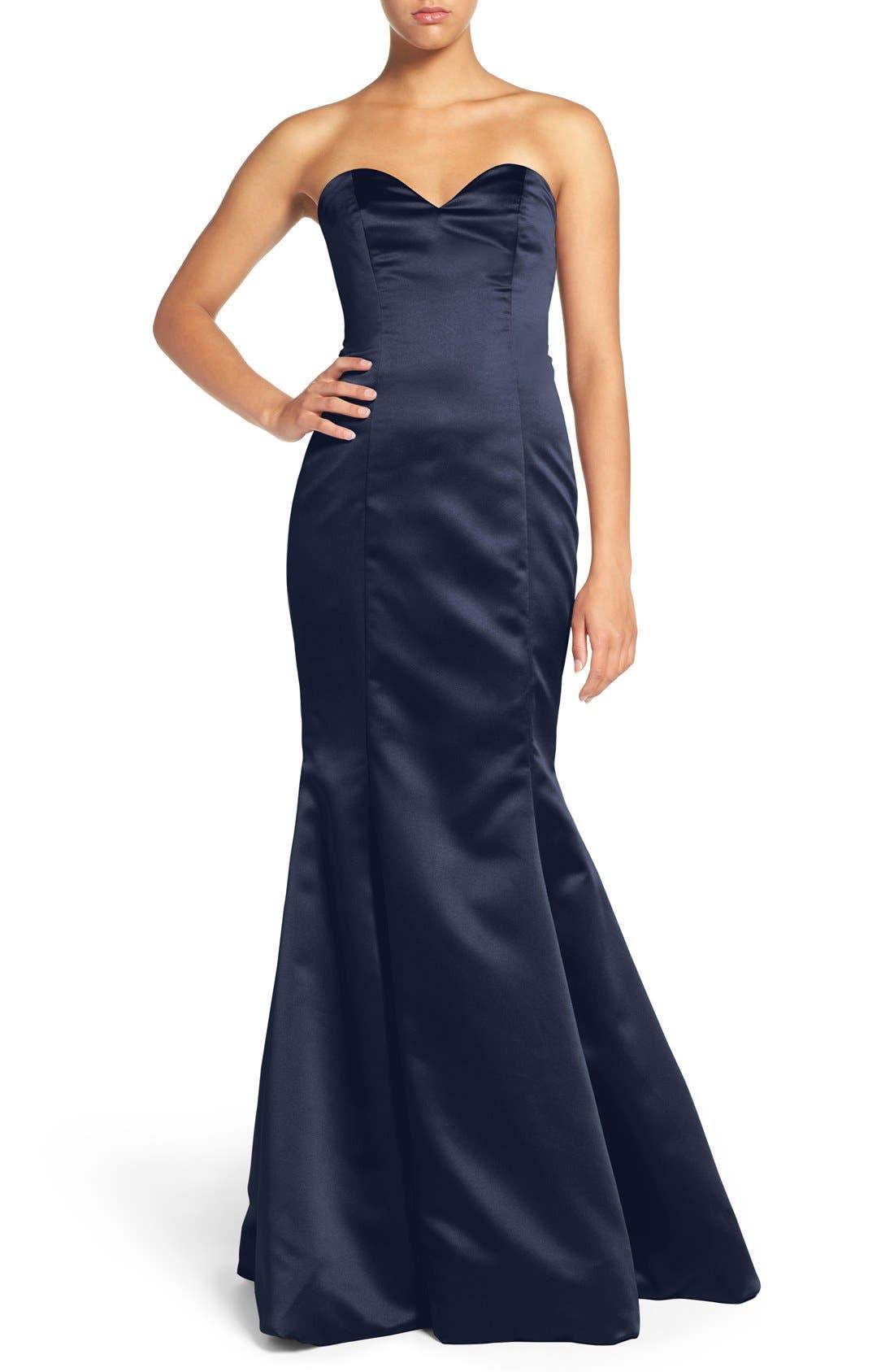 Strapless Satin Trumpet Gown,                         Main,                         color, INDIGO