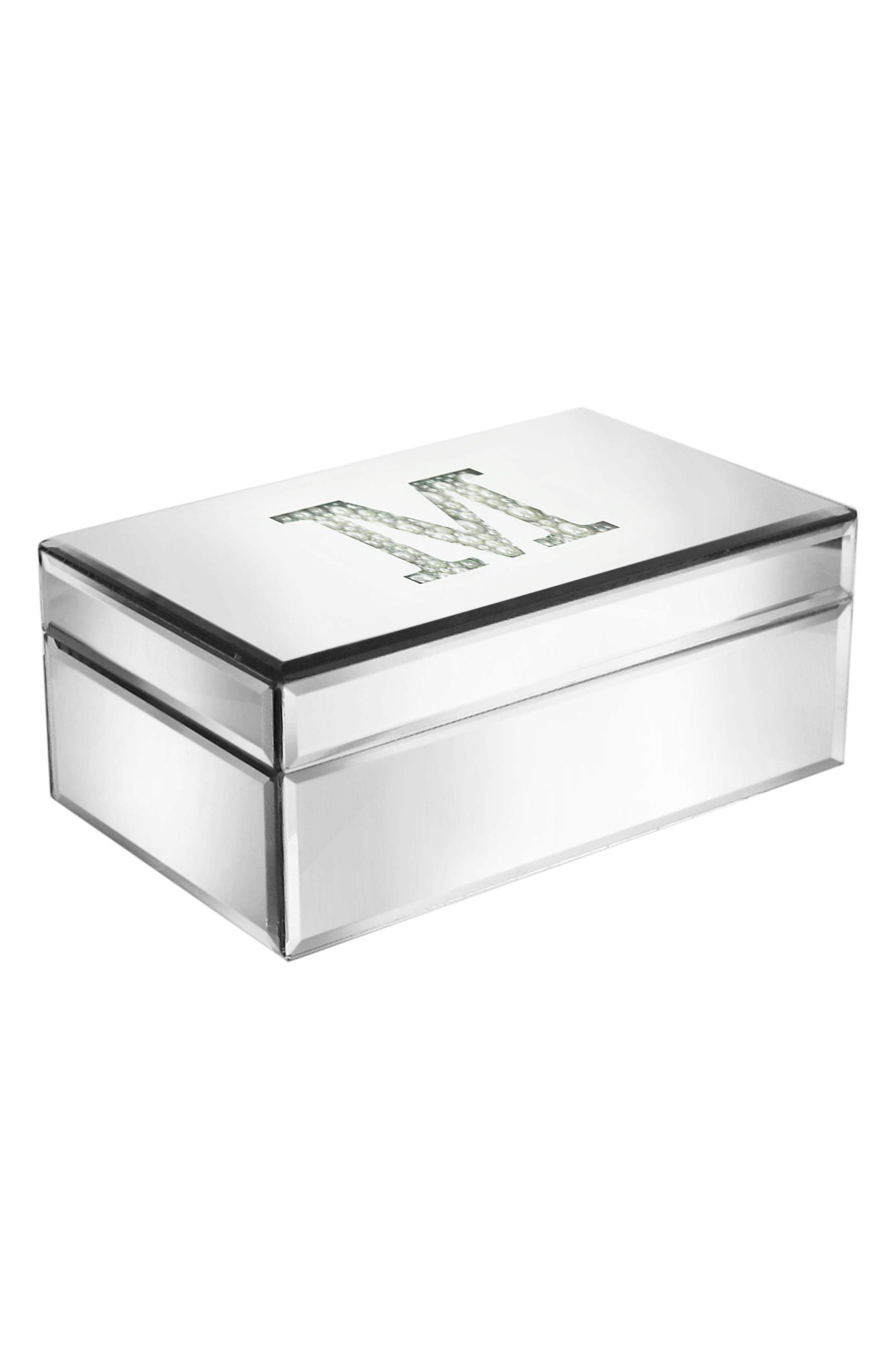 Imitation Pearl Monogram Mirrored Jewelry Box,                         Main,                         color, 040