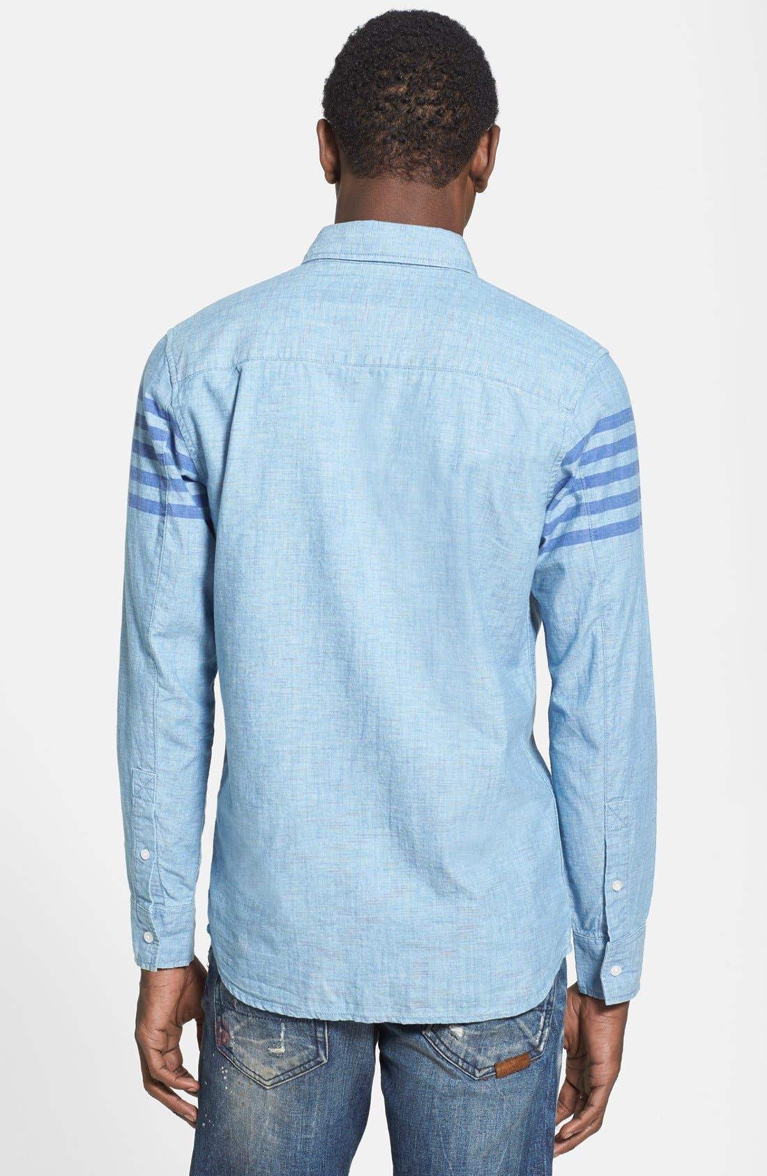 55DSL,                             'Stendard 55' Chest Stripe Print Woven Shirt,                             Alternate thumbnail 4, color,                             400