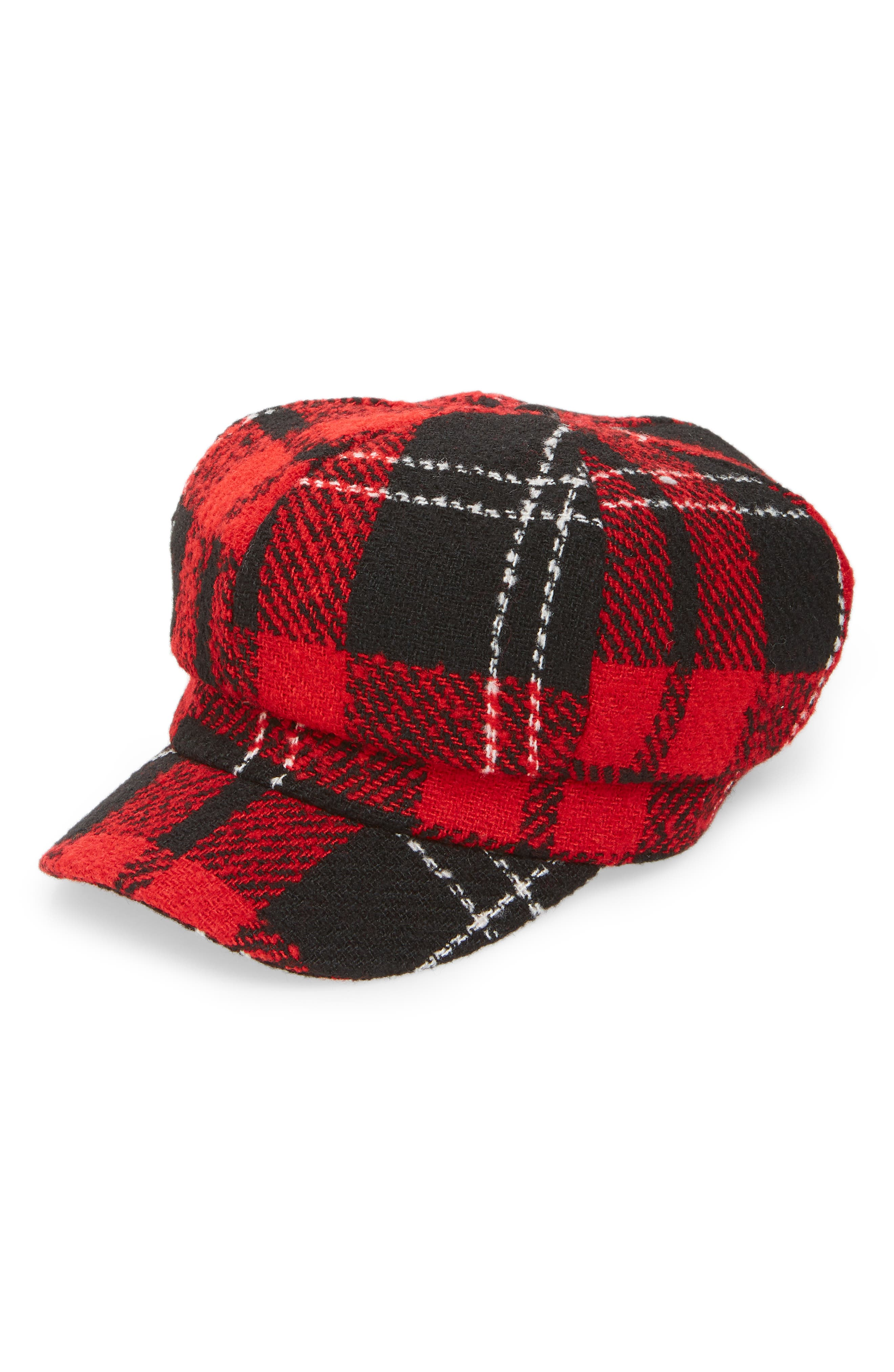Lumberjack Baker Boy Hat,                             Main thumbnail 1, color,                             RED MULTI