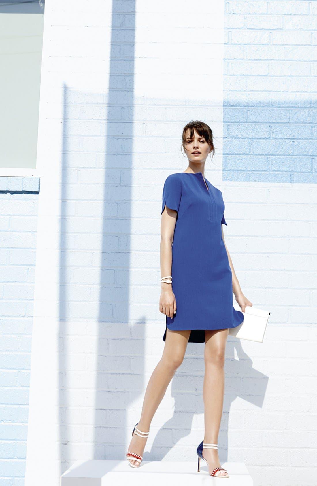 Split Front Shirttail Shift Dress,                             Alternate thumbnail 4, color,                             001