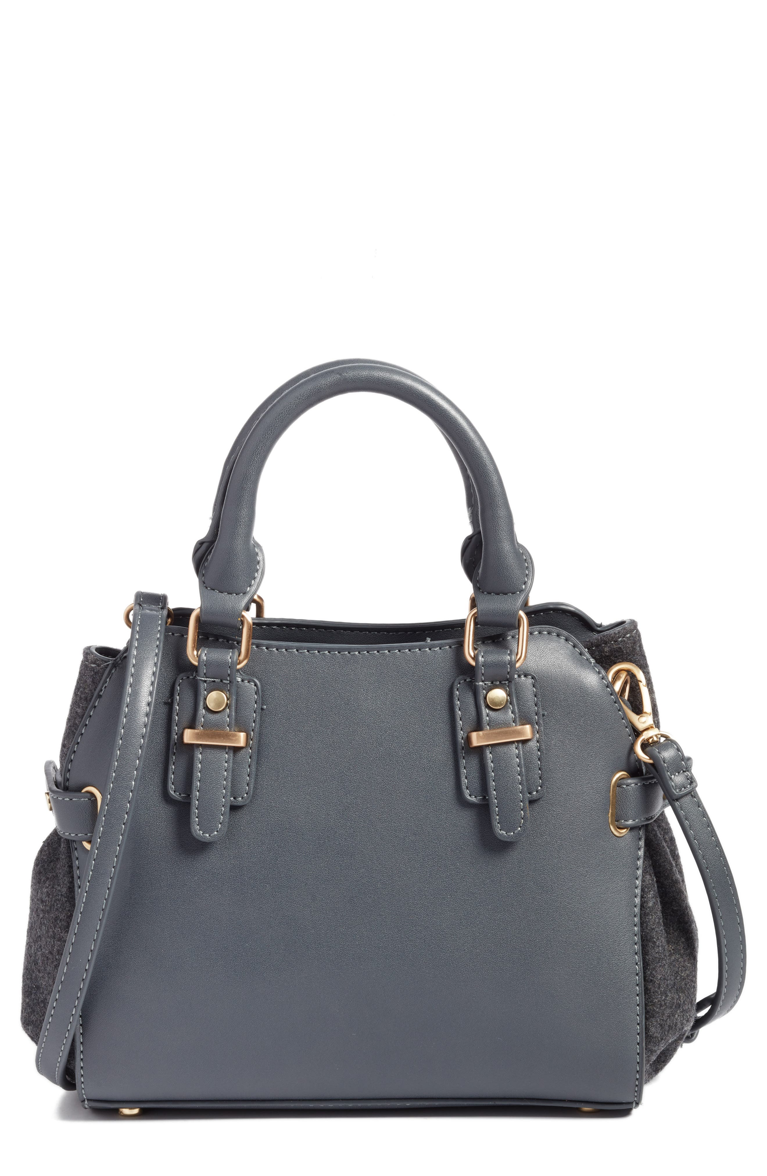Faux Leather & Flannel Satchel,                         Main,                         color,