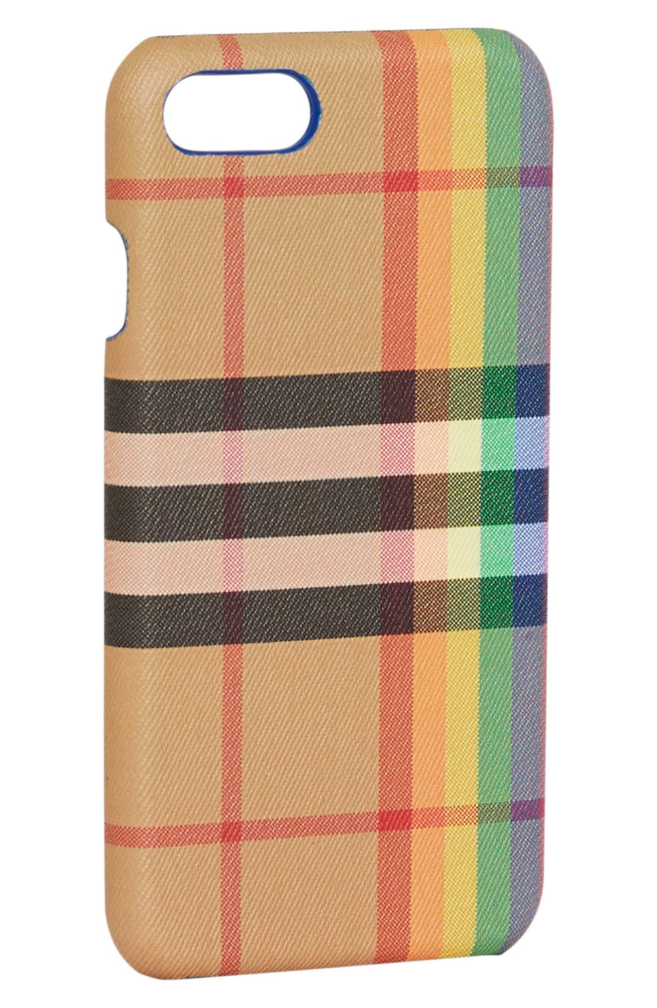 Vintage Check Rainbow iPhone 8 Case,                             Alternate thumbnail 2, color,                             250