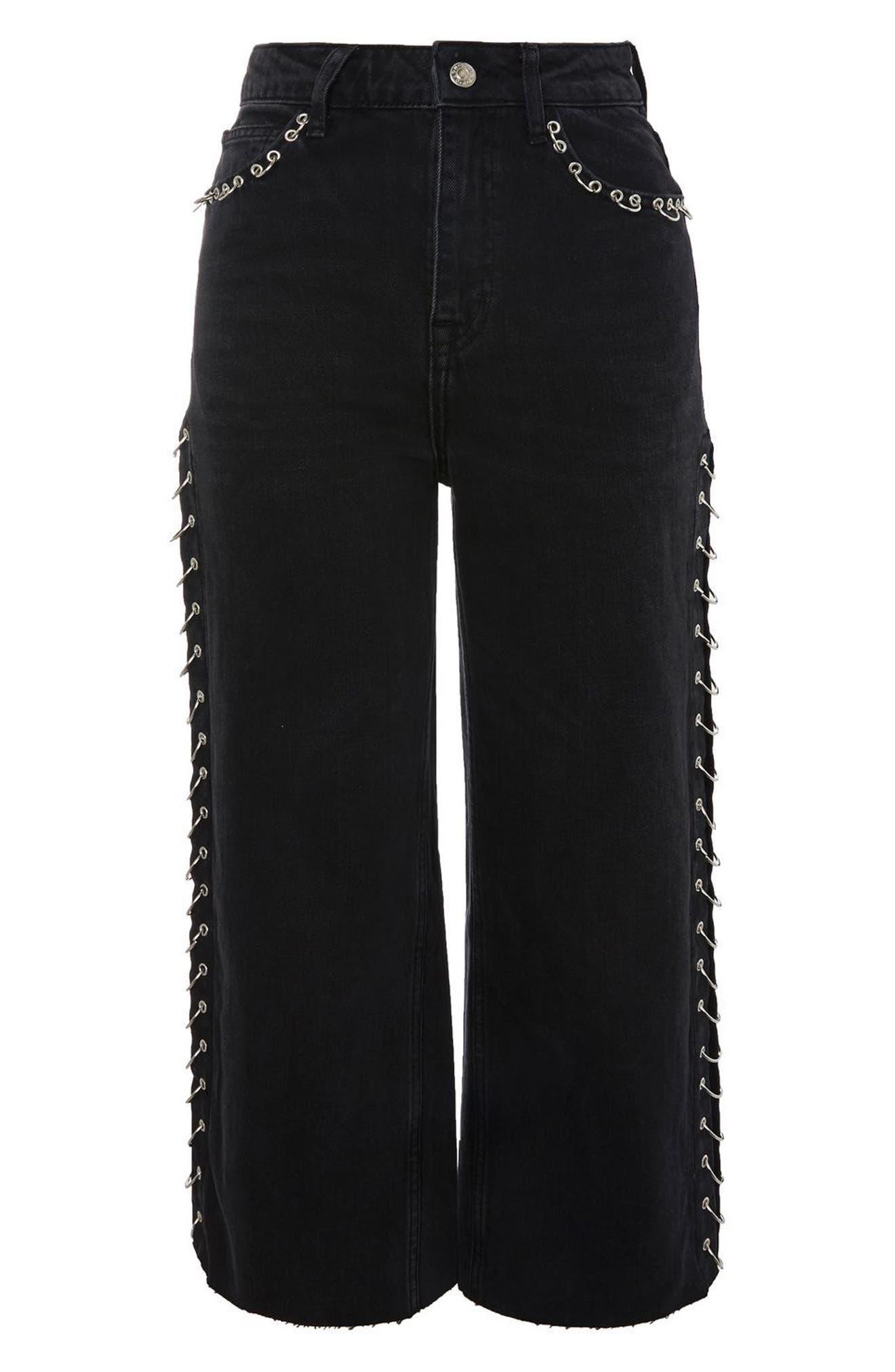 Pierced Crop Wide Leg Jeans,                             Alternate thumbnail 3, color,                             001