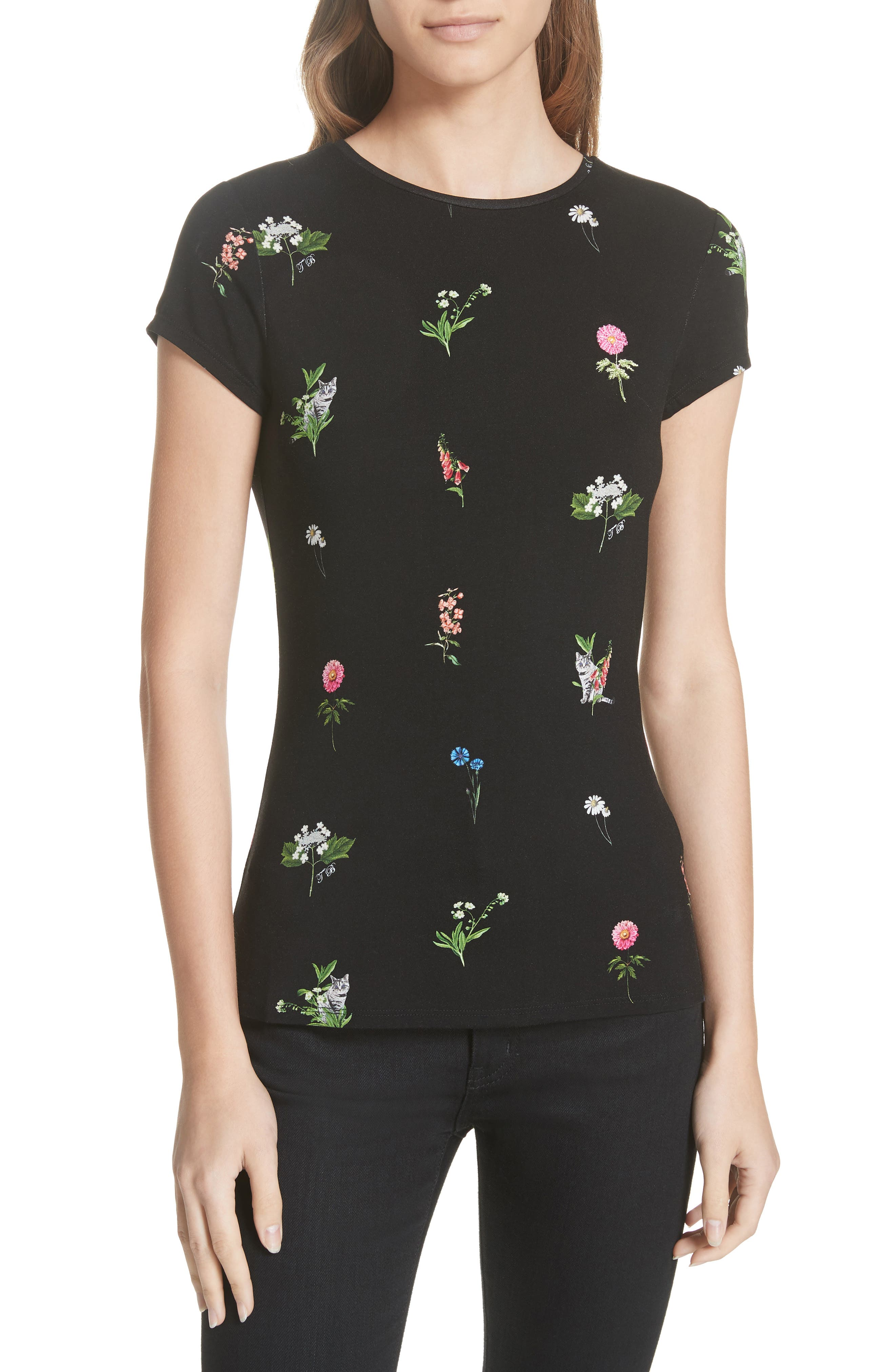 Roobey Florence Fitted Tee,                             Main thumbnail 1, color,                             001