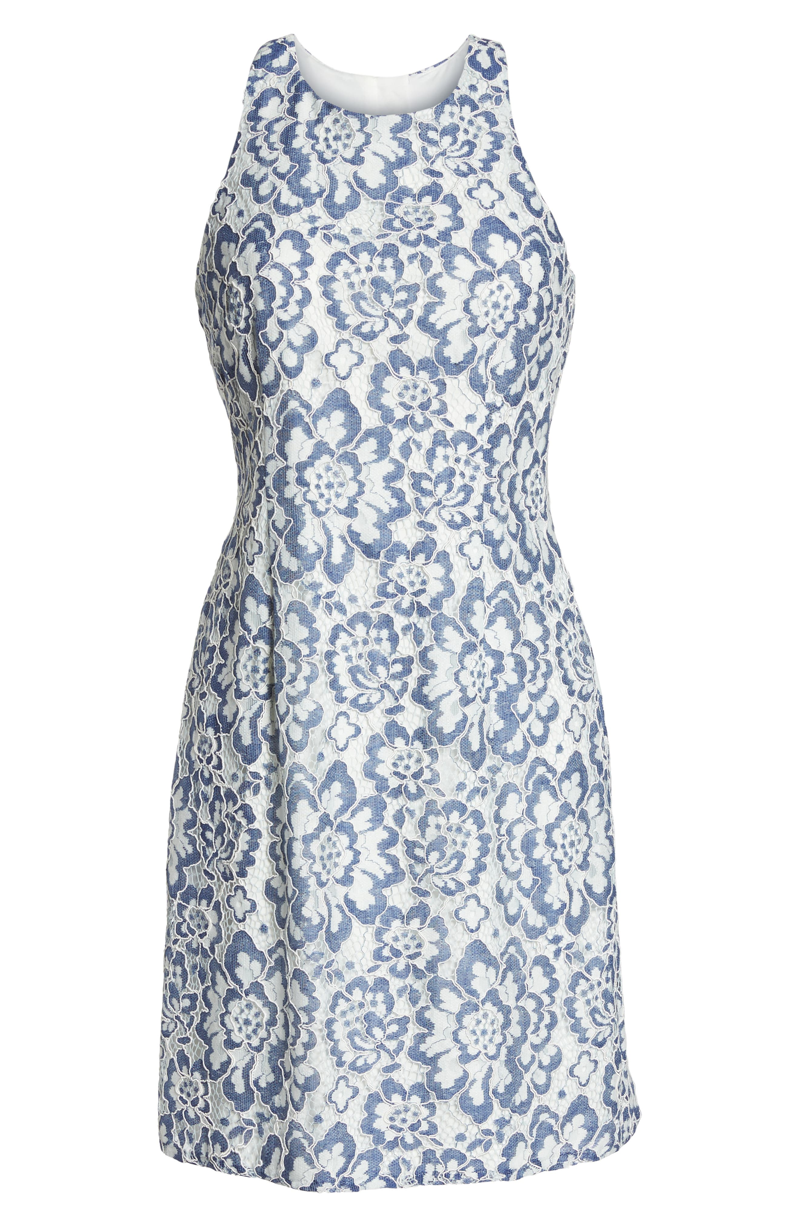 ADRIANNA PAPELL,                             Elisa Two Tone Lace Sheath Dress,                             Alternate thumbnail 7, color,                             481