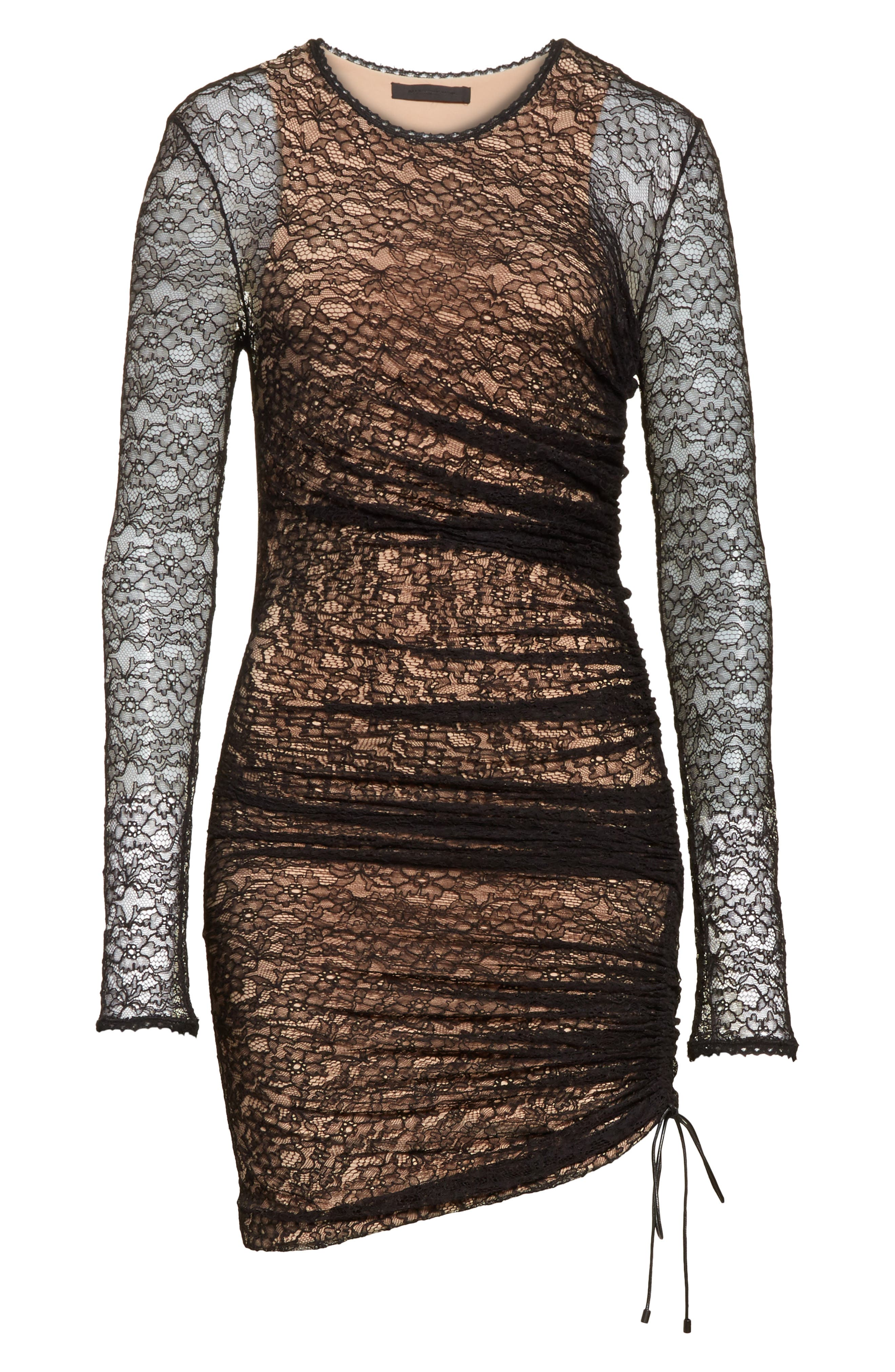 Ruched Lace Dress,                             Alternate thumbnail 6, color,                             001