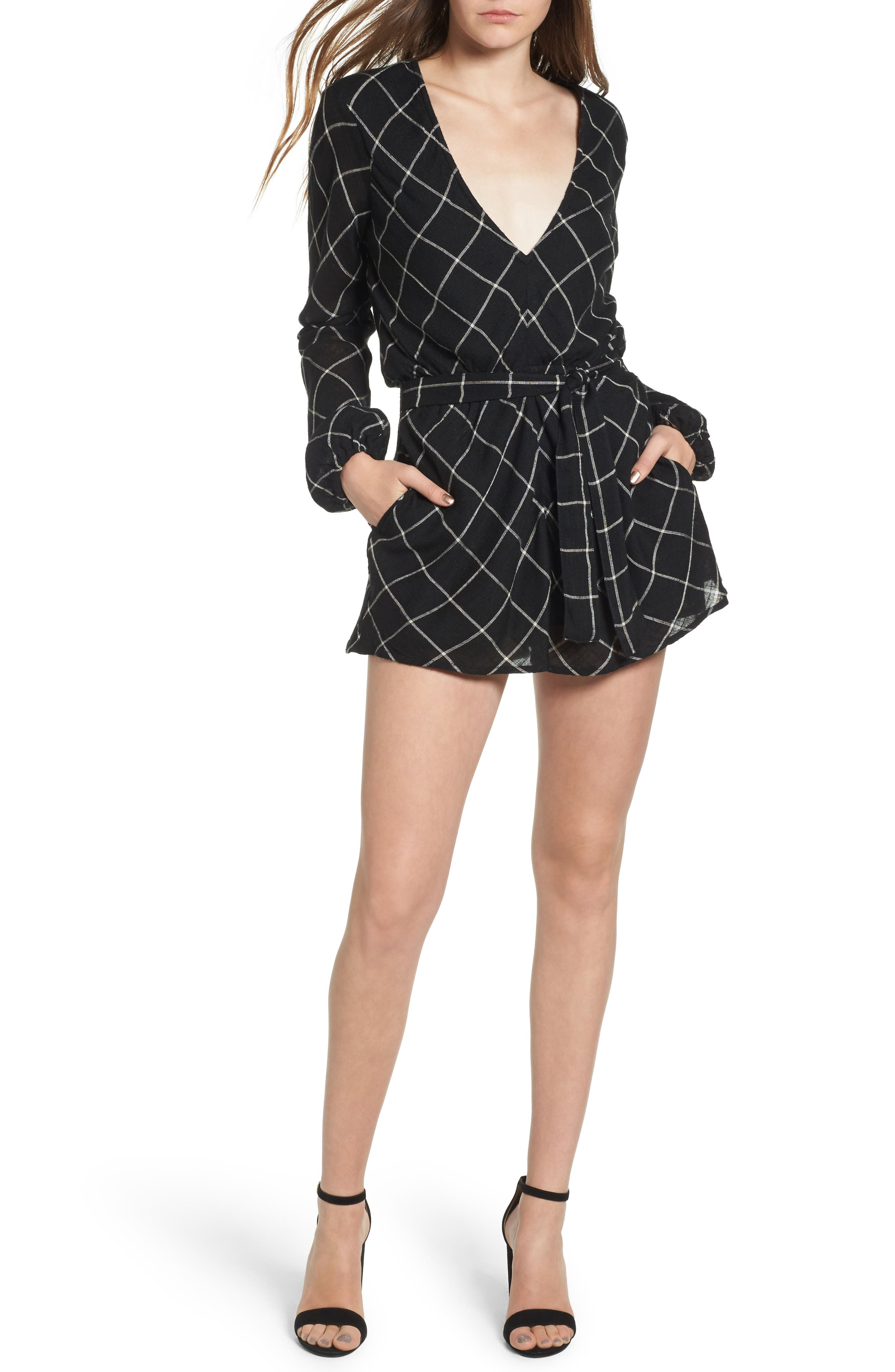 Plaid Romper,                         Main,                         color,