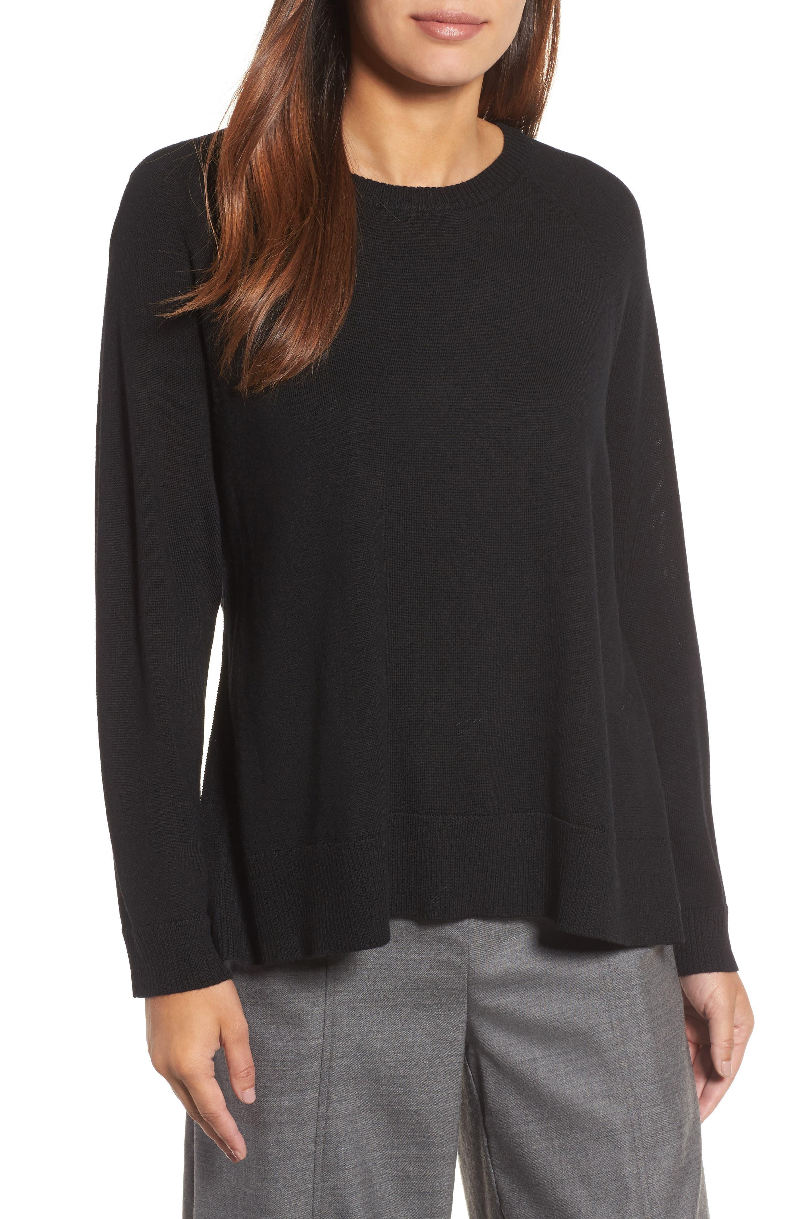 Side Slit Merino Wool Sweater,                         Main,                         color, 001