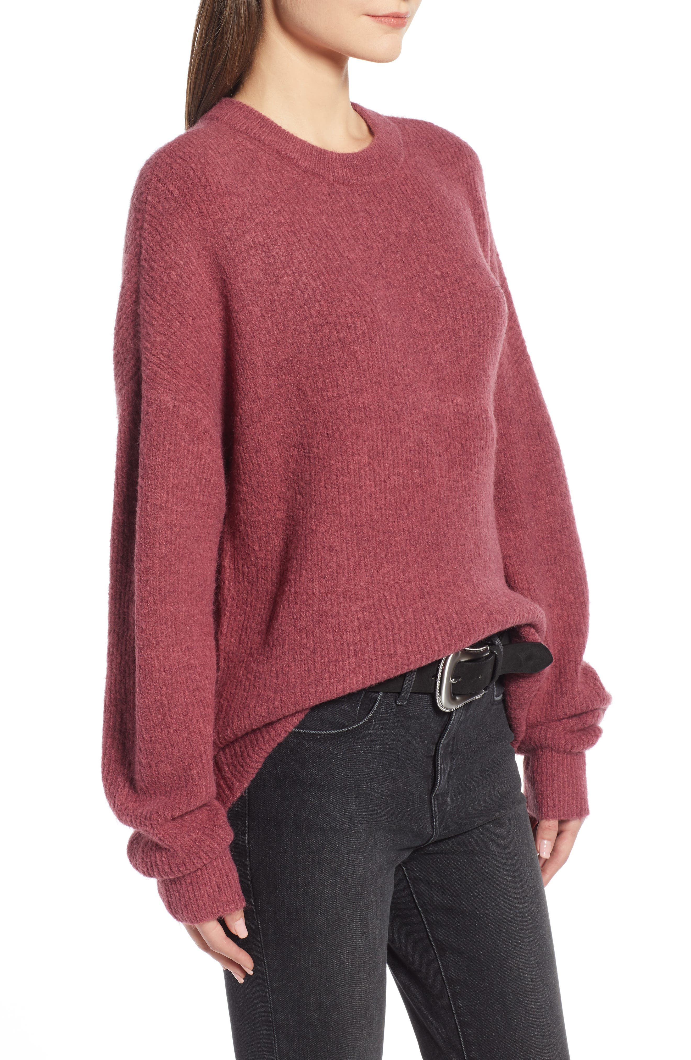 Fuzzy Oversize Sweater,                             Alternate thumbnail 3, color,                             BURGUNDY THORN