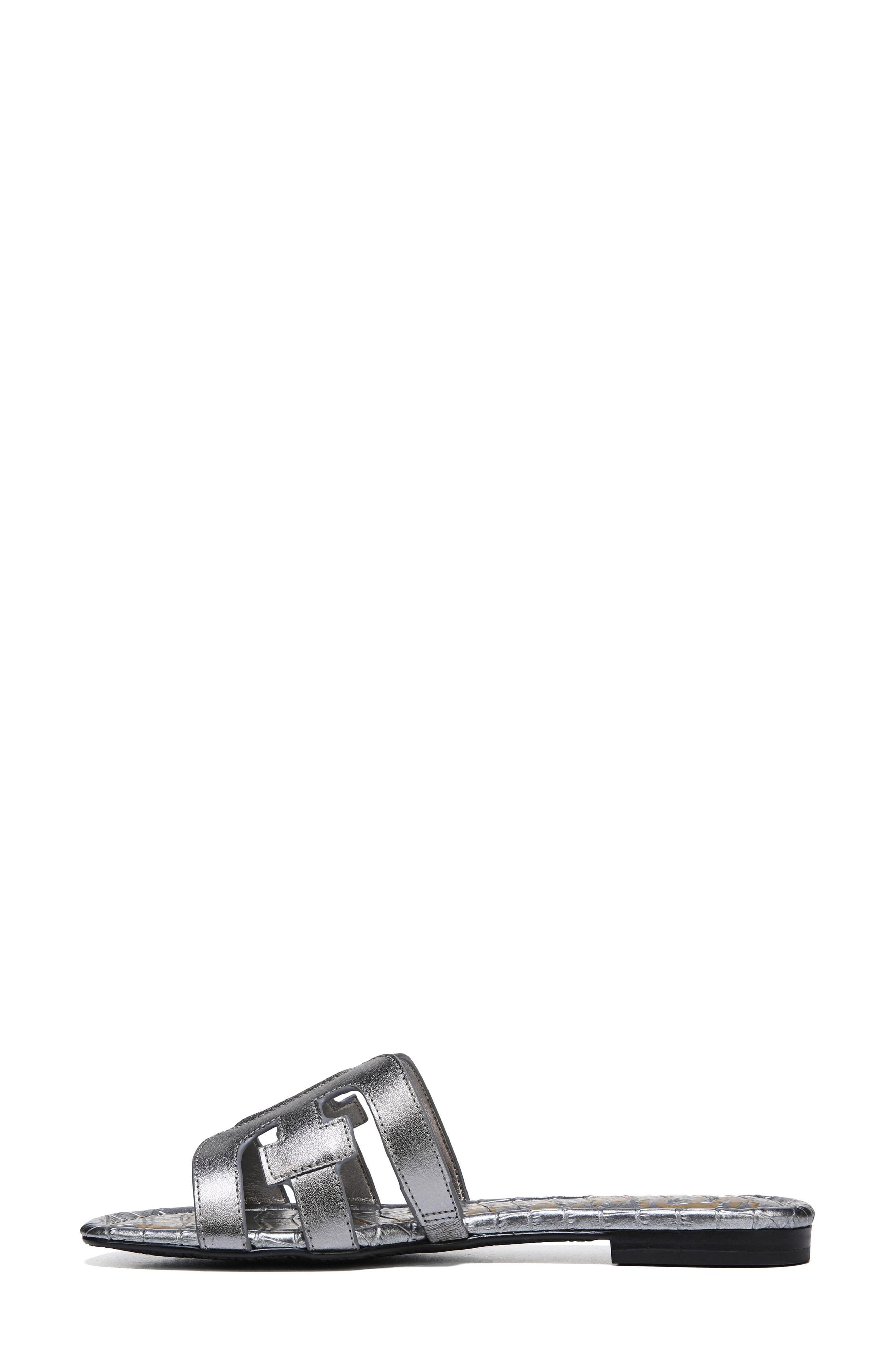 Bay Cutout Slide Sandal,                             Alternate thumbnail 3, color,                             PEWTER LEATHER
