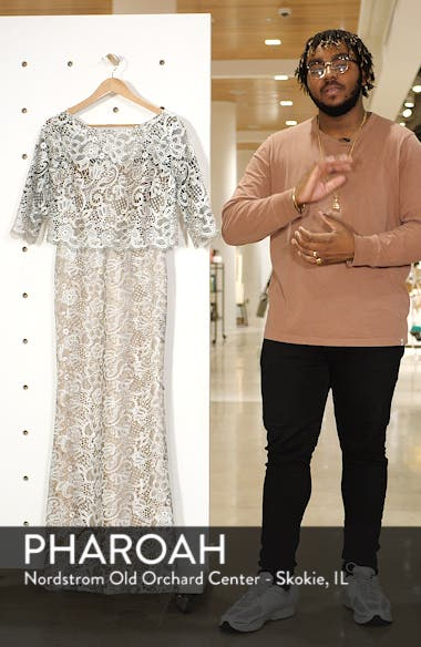 JS Collection Embroidered Lace Scallop Trim Evening Dress, sales video thumbnail