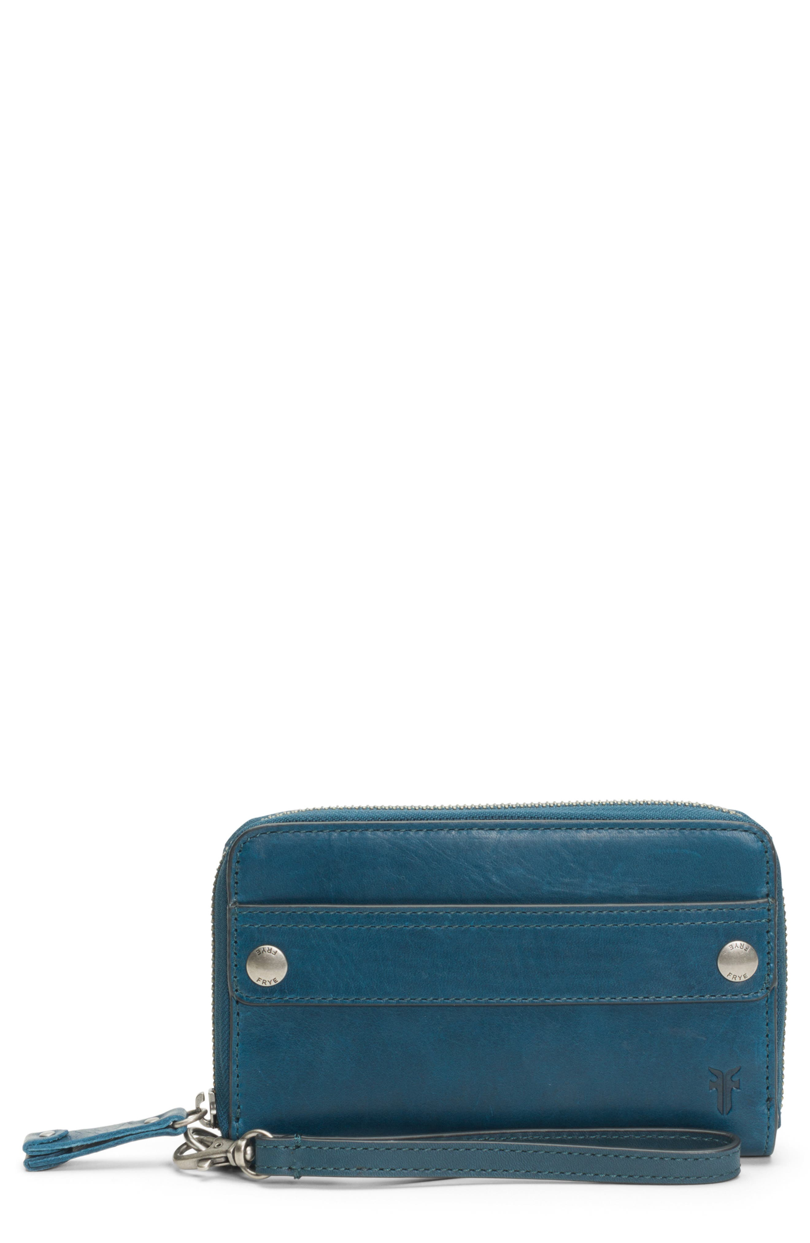Melissa Large Leather Phone Wallet,                         Main,                         color, PEACOCK