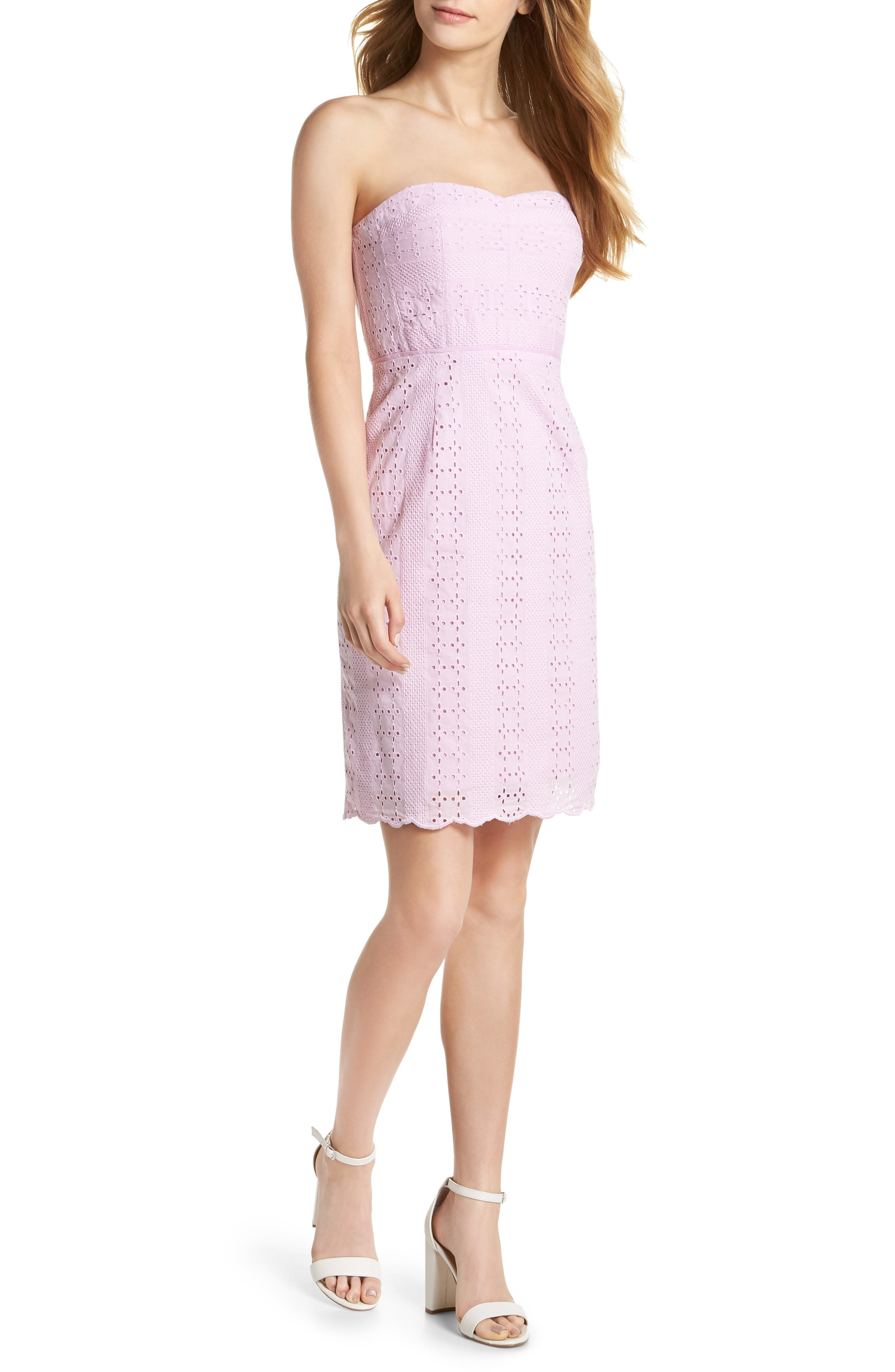 Strapless Eyelet Sheath Dress,                             Main thumbnail 1, color,
