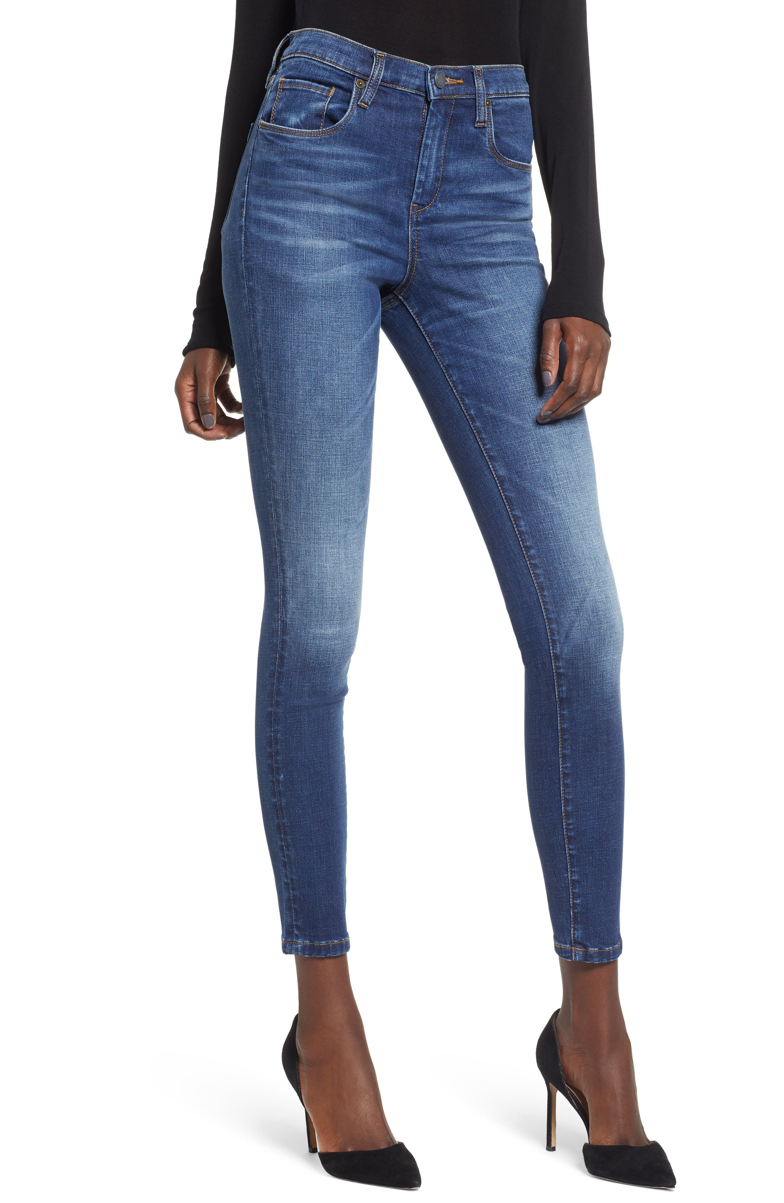 High Waist Skinny Jeans,                         Main,                         color, ROUGH RIDER
