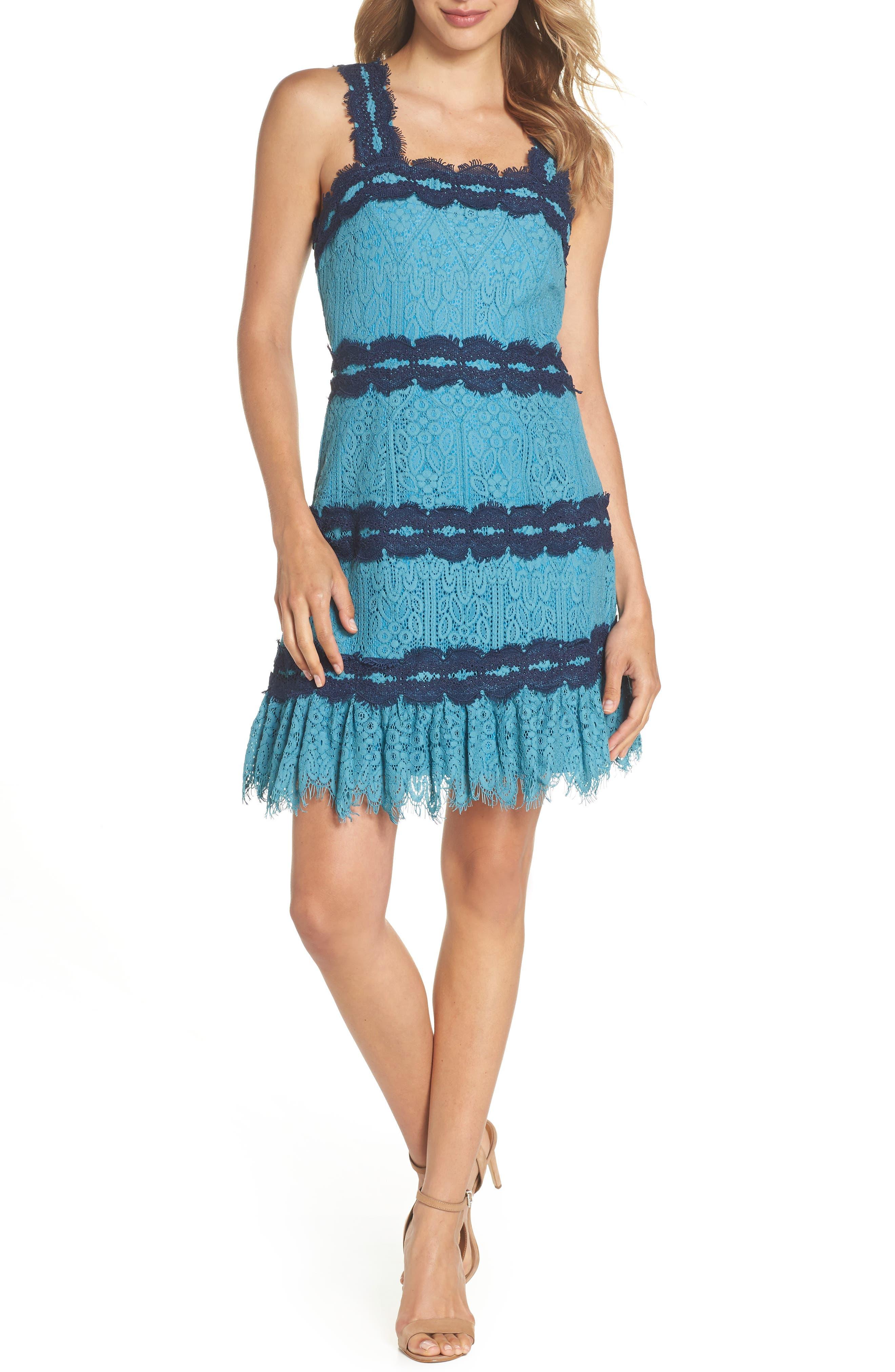 Lula Ruffle Lace Dress,                         Main,                         color, TEAL/ NAVY