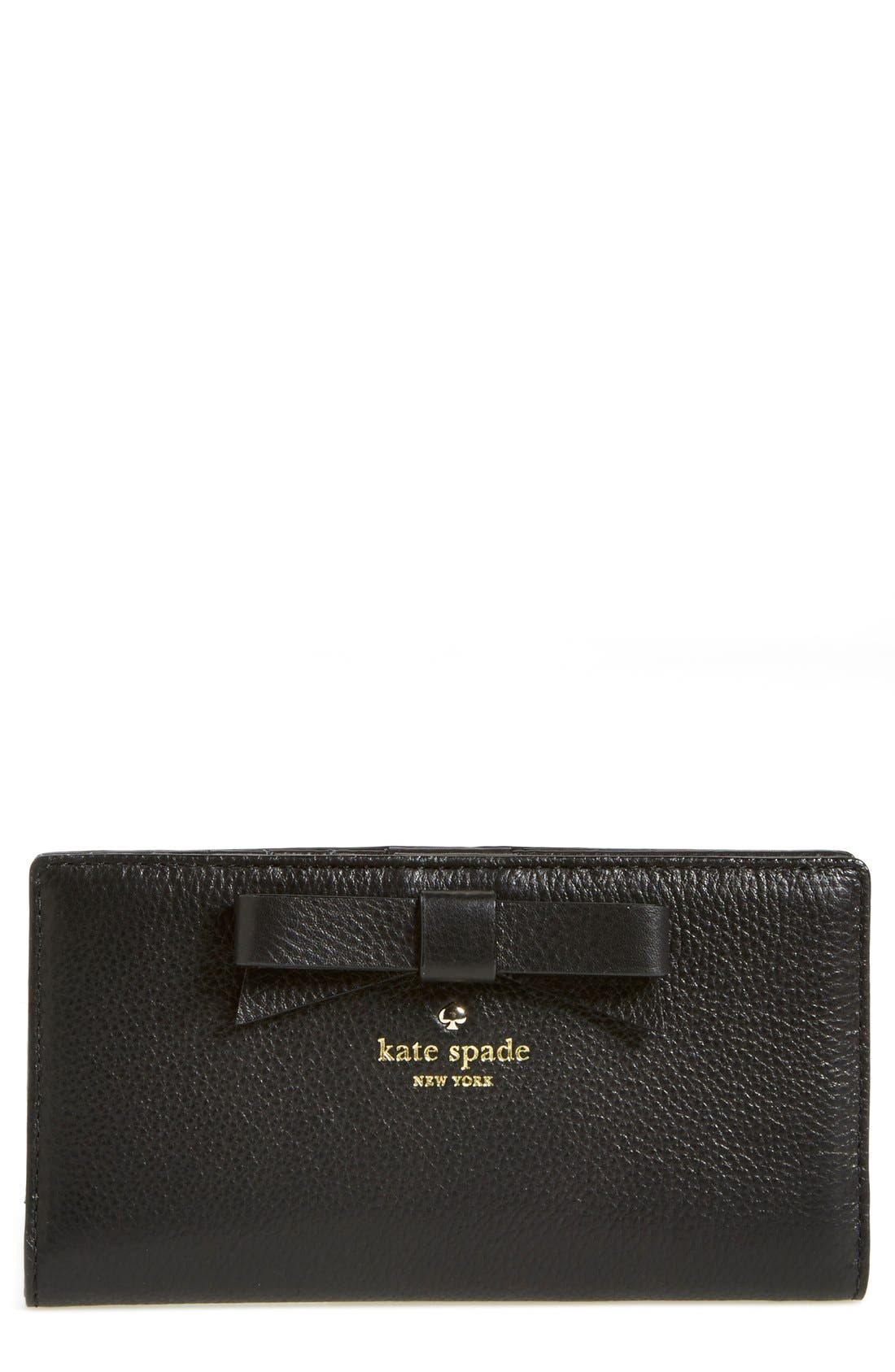 'north court - bow stacy' pebbled leather wallet, Main, color, 001