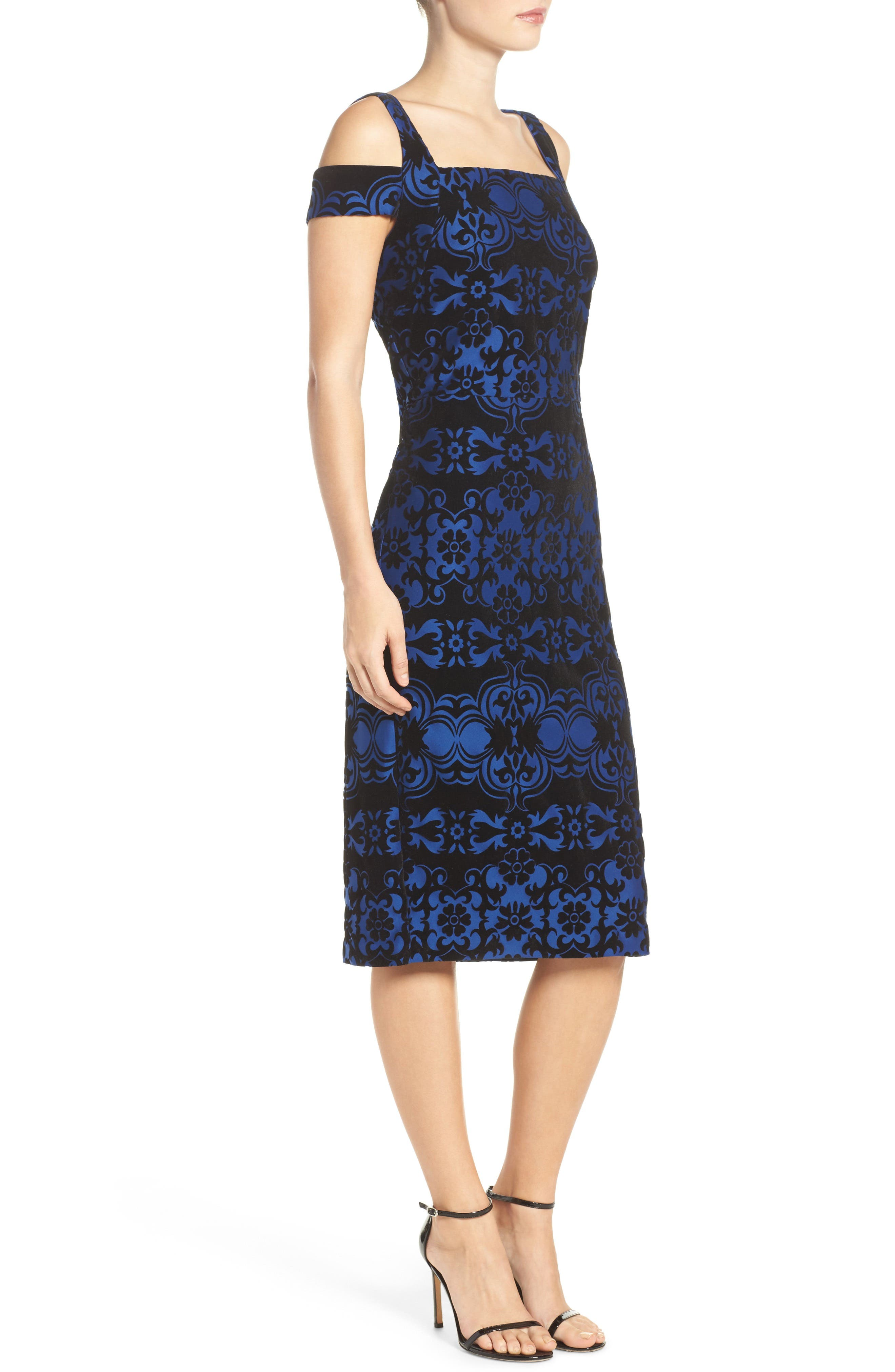 Flocked Midi Dress,                             Alternate thumbnail 3, color,                             409